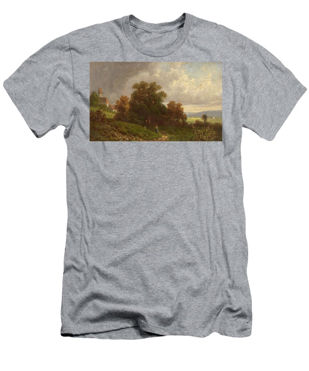 Carl Spitzweg Men's T-Shirt (Athletic Fit) featuring the painting Landscape In The Loisach-valley by Celestial Images