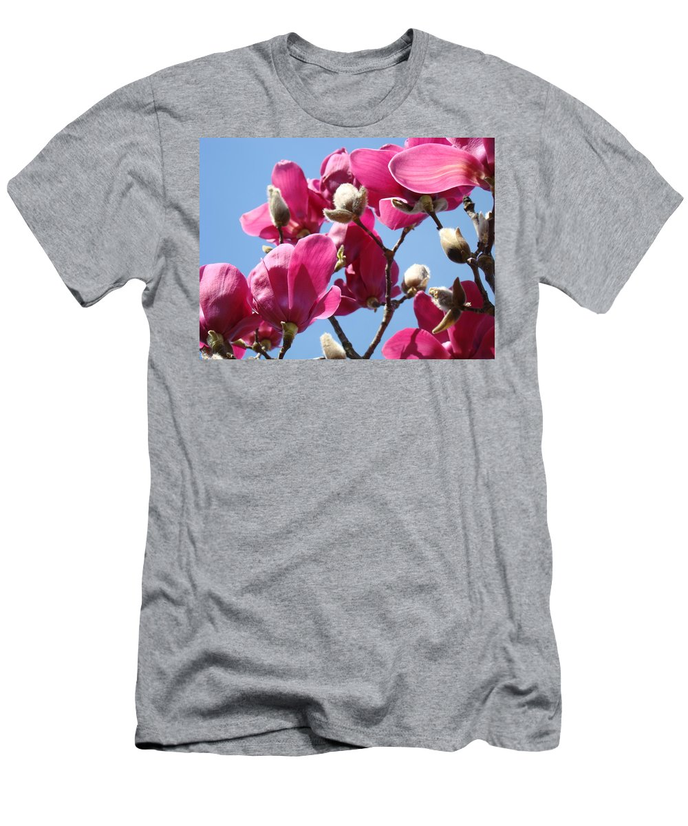 Magnolia Men's T-Shirt (Athletic Fit) featuring the photograph Landscape Pink Magnolia Flowers 46 Blue Sky Magnolia Tree by Baslee Troutman