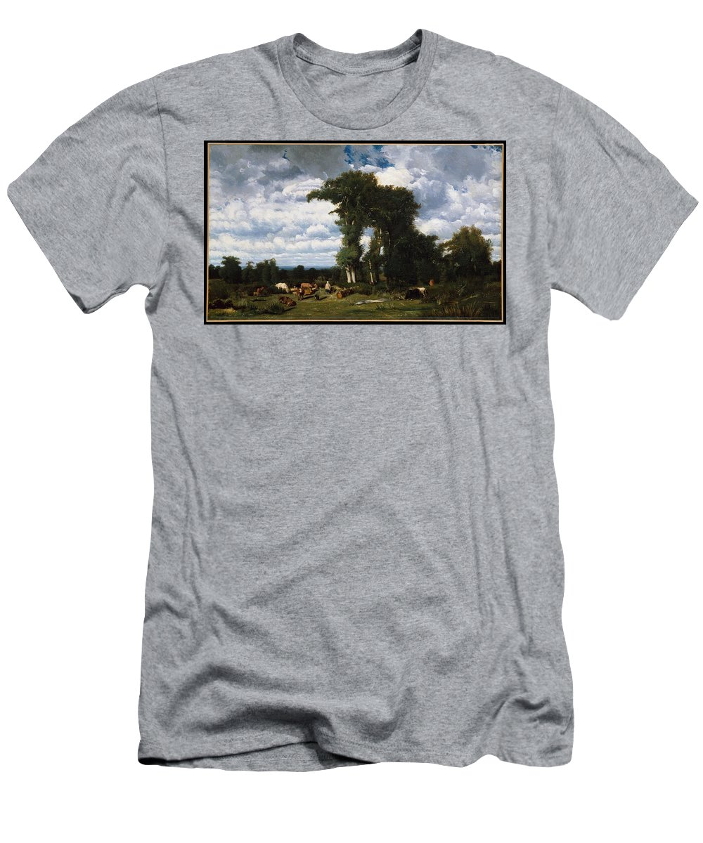 Landscape With Cattle At Limousin Men's T-Shirt (Athletic Fit) featuring the painting Landscape With Cattle At Limousin by MotionAge Designs