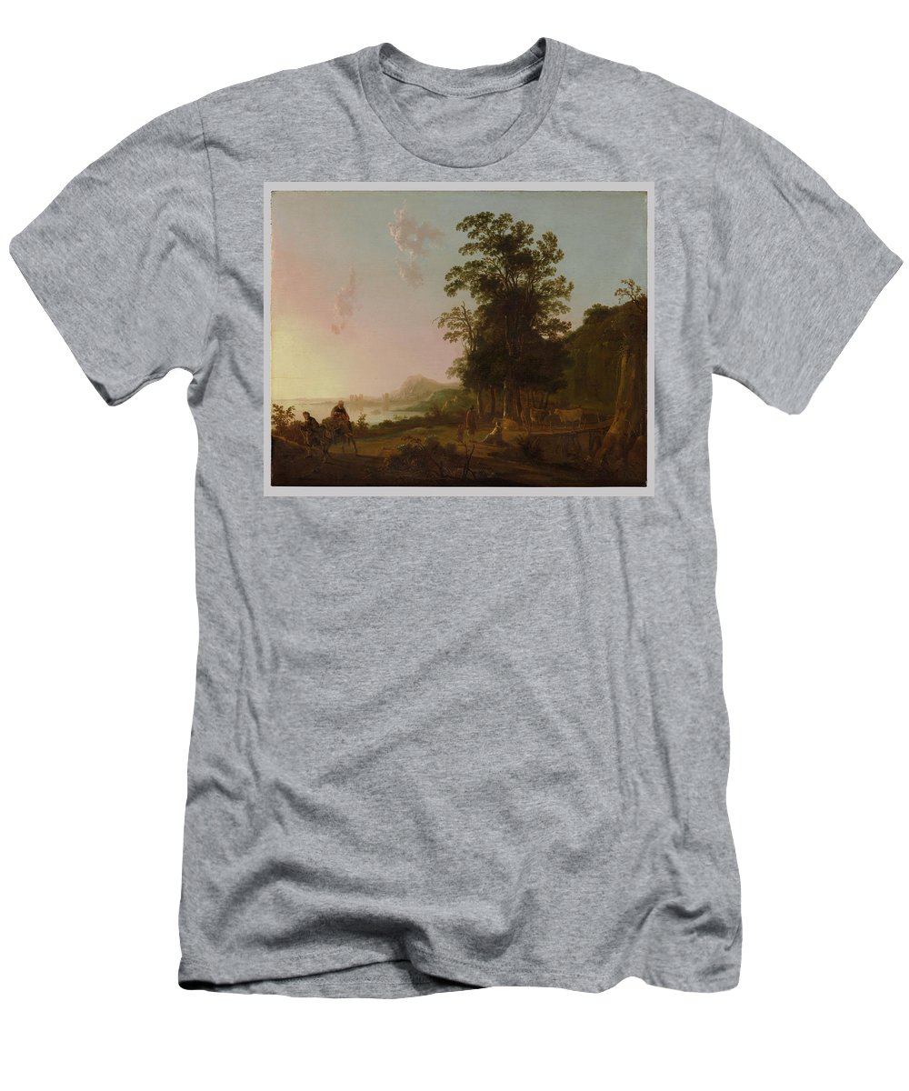 Landscape With The Flight Into Egypt Men's T-Shirt (Athletic Fit) featuring the painting Landscape With The Flight by Aelbert Cuyp