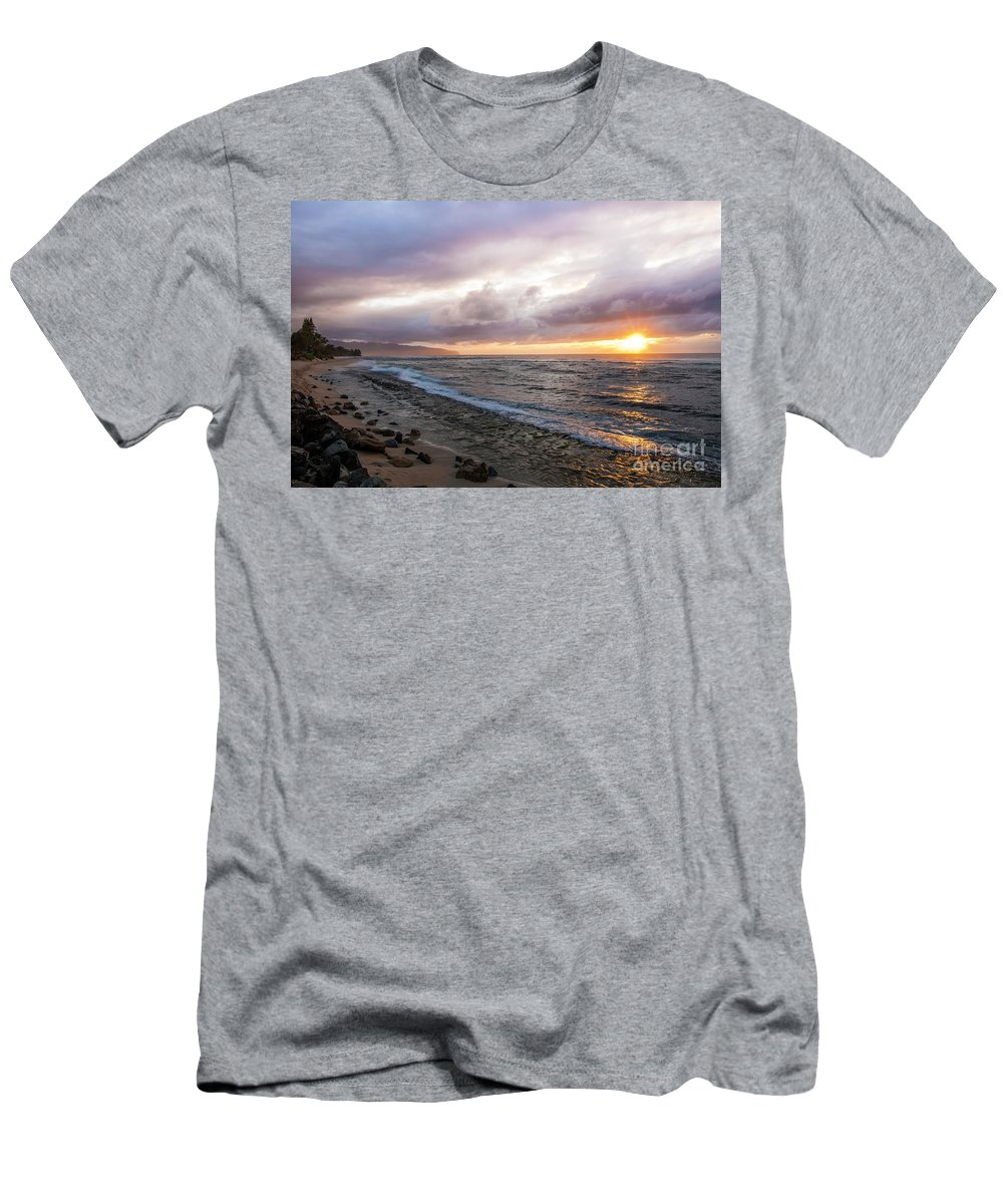 Beach Men's T-Shirt (Athletic Fit) featuring the photograph Laniakea Beach Sunset by Daryl L Hunter