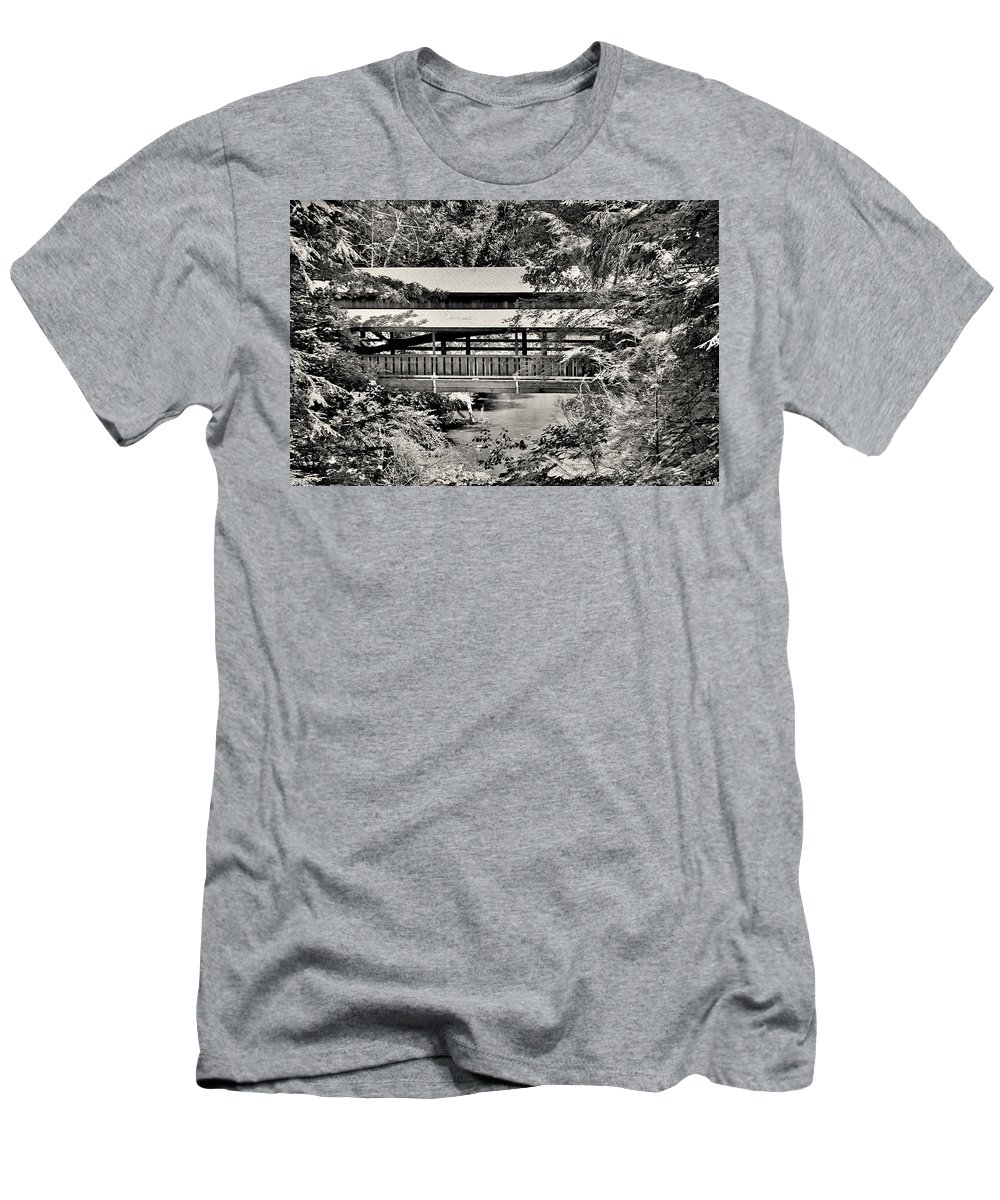 Lanterman's Mill Covered Bridge Black And White Men's T-Shirt (Athletic Fit) featuring the photograph Lanterman's Mill Covered Bridge Black And White by Lisa Wooten