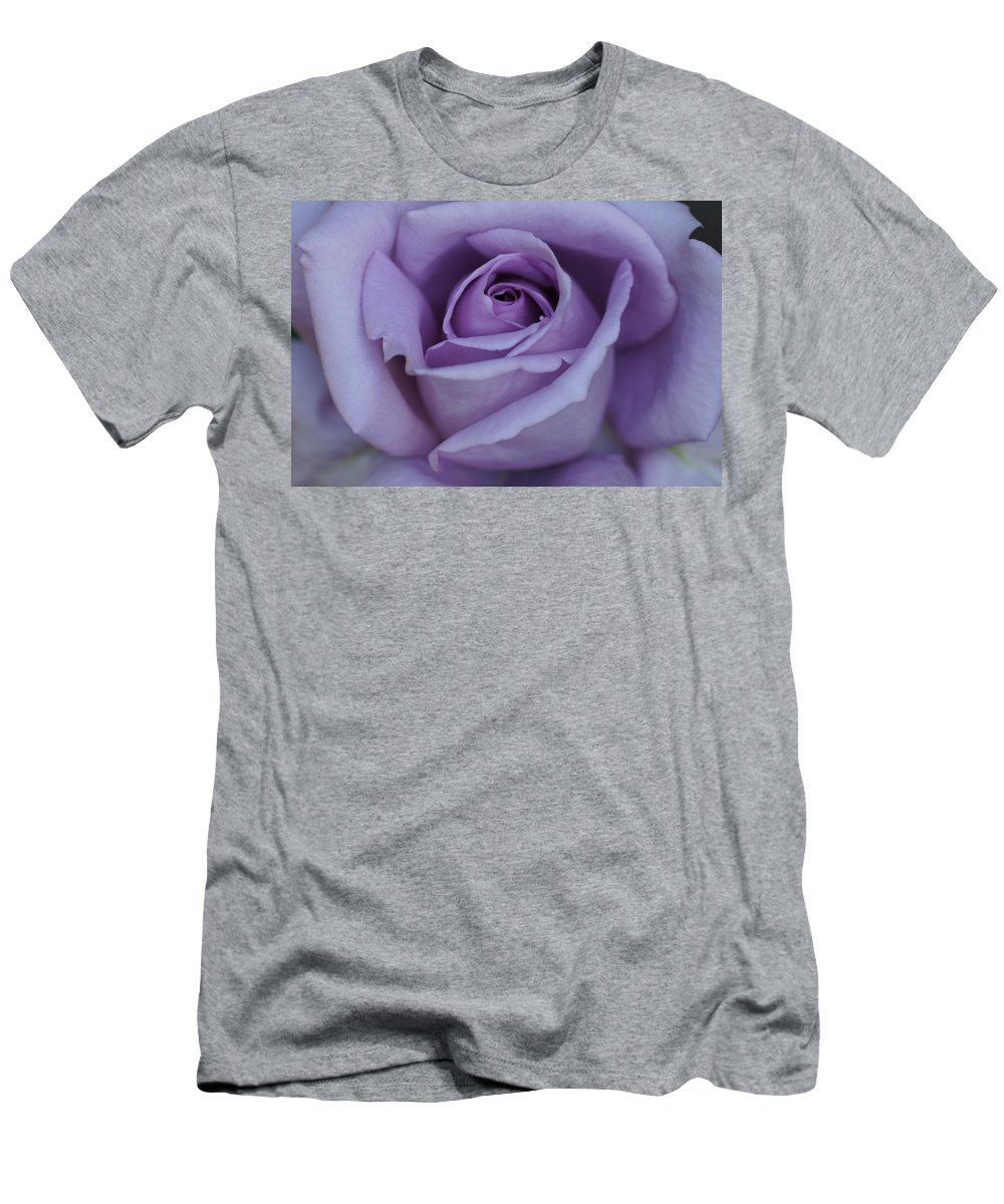 Center Men's T-Shirt (Athletic Fit) featuring the photograph Large Purple Rose Center - 002 by Shirley Heyn