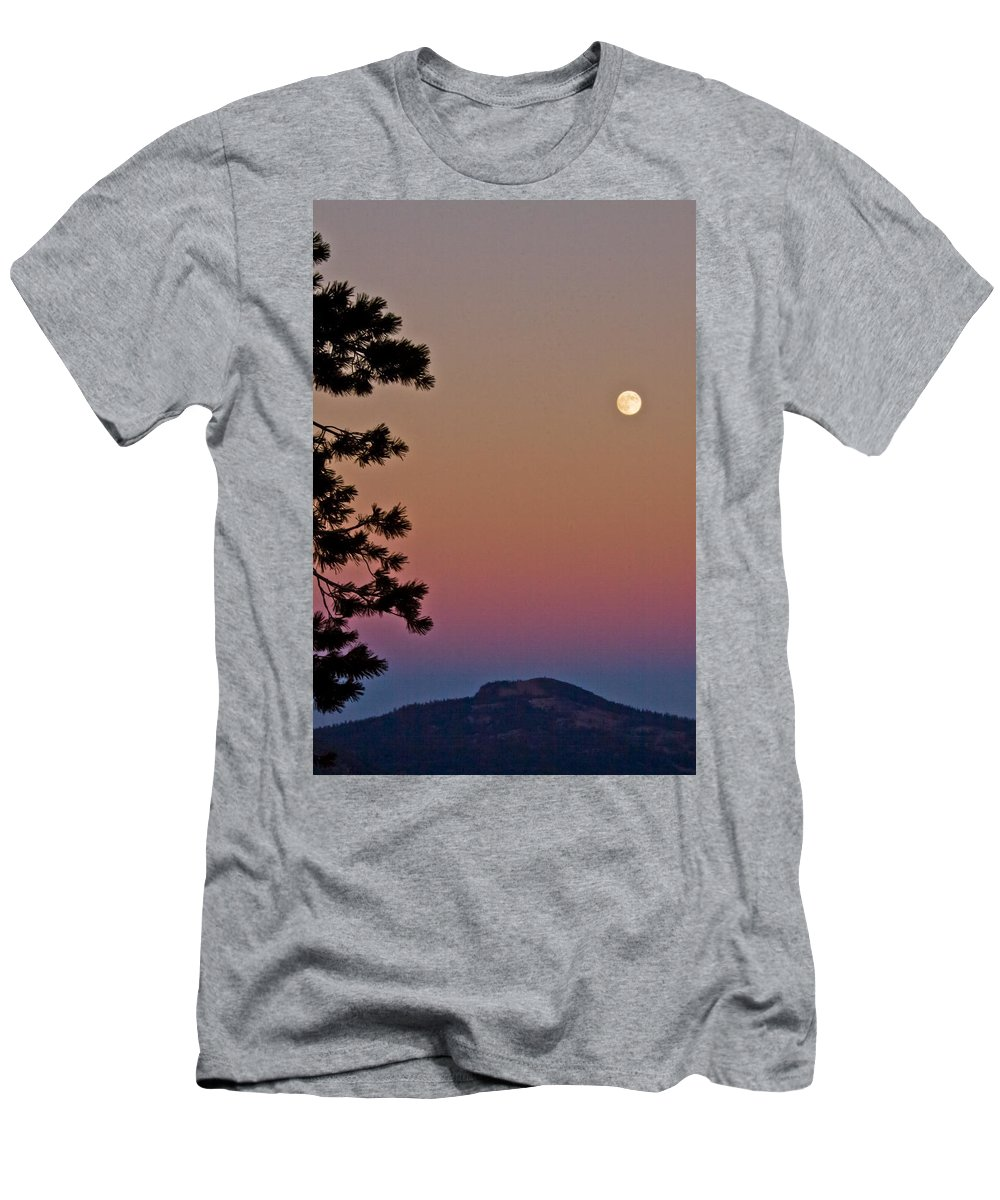 Full Moon Men's T-Shirt (Athletic Fit) featuring the photograph Lassen Sunset by Albert Seger