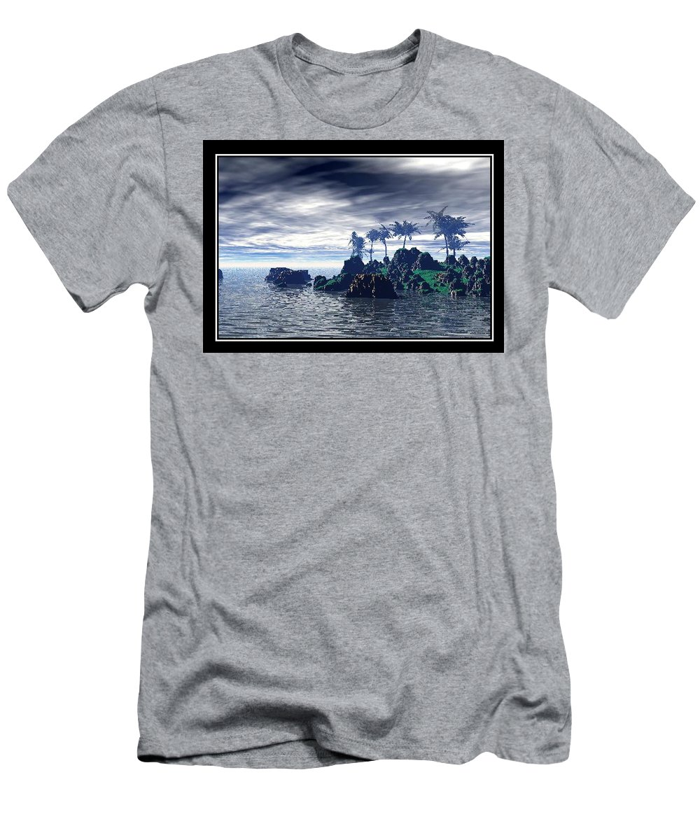 Landscape Palm Trees Sea Water Holiday Landscape Photo Canvas Art Clouds Sky Best William Ballester Last Day Of Holidays Men's T-Shirt (Athletic Fit) featuring the digital art Last Day Of Holidays by William Ballester