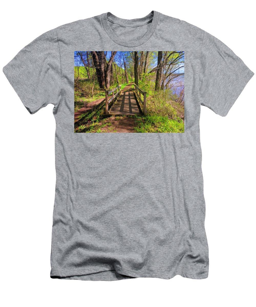 Landscape Men's T-Shirt (Athletic Fit) featuring the photograph Lattice Shadows by Paul Kercher