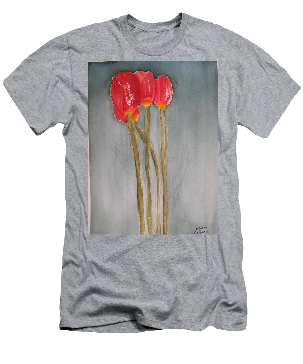 Tulip Flower Bouquet Men's T-Shirt (Athletic Fit) featuring the painting Laura by Patricia Caldwell
