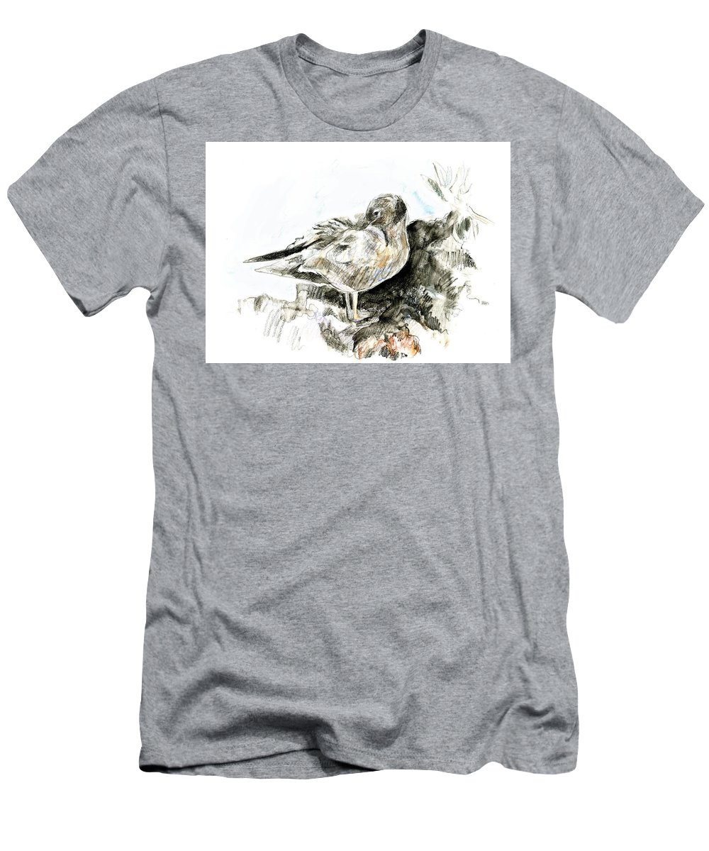 Lava Gull Men's T-Shirt (Athletic Fit) featuring the painting Lava Gull by Abby McBride