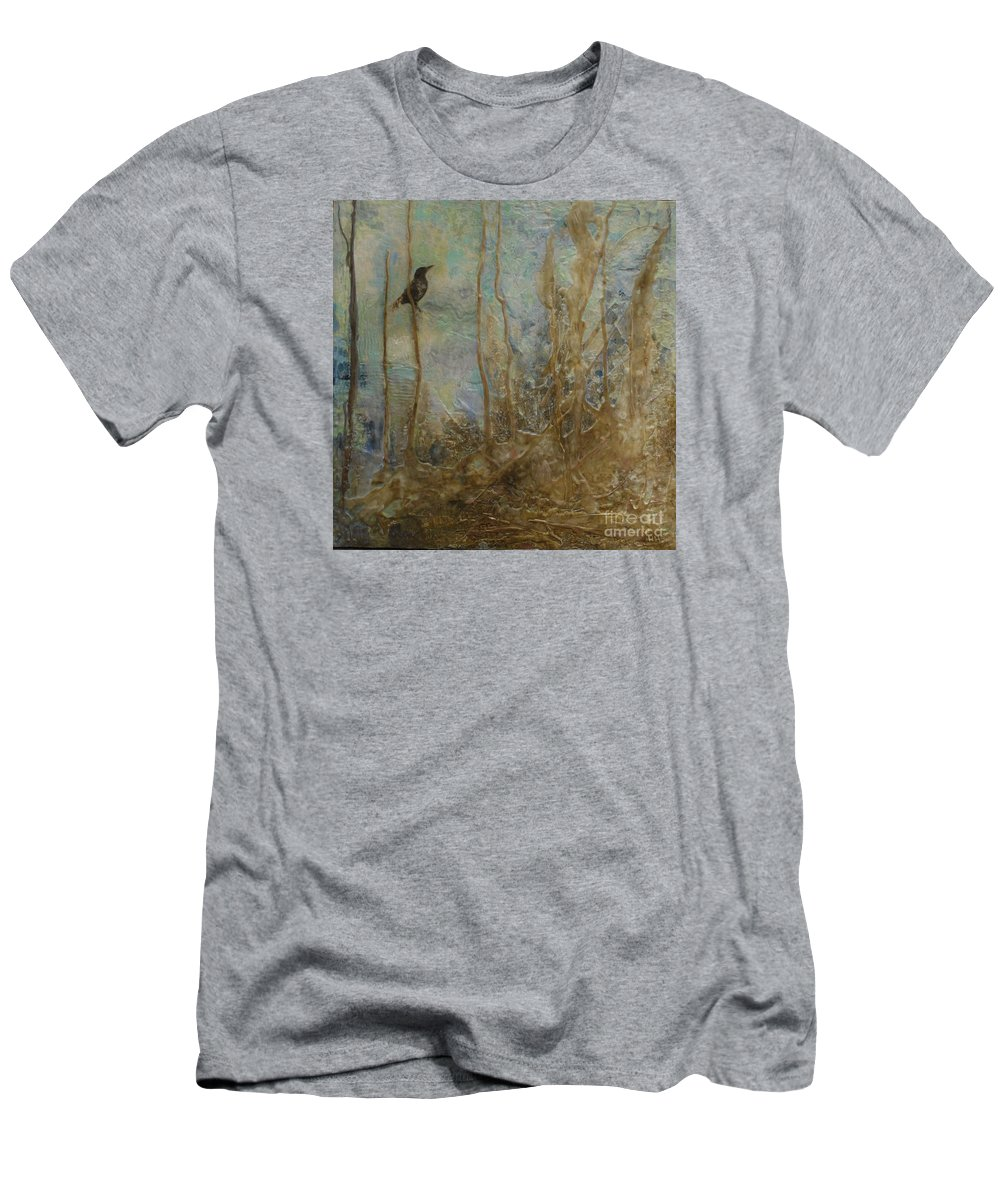 Bird Men's T-Shirt (Athletic Fit) featuring the painting Lawbird by Heather Hennick