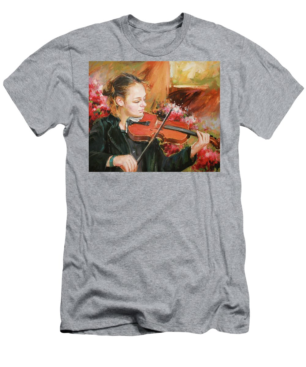 Violin Men's T-Shirt (Athletic Fit) featuring the painting Learning The Violin by Conor McGuire