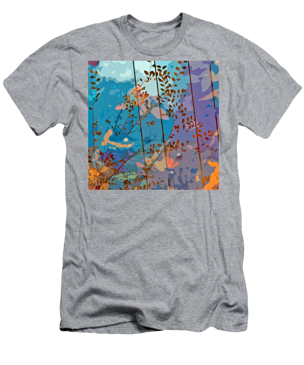 Leaves Men's T-Shirt (Athletic Fit) featuring the painting Leaves And Wire by Stephen Anderson