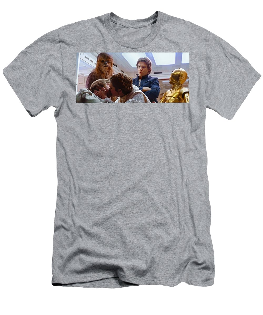 Leia Men's T-Shirt (Athletic Fit) featuring the digital art Leia Kisses Luke by Mitch Boyce
