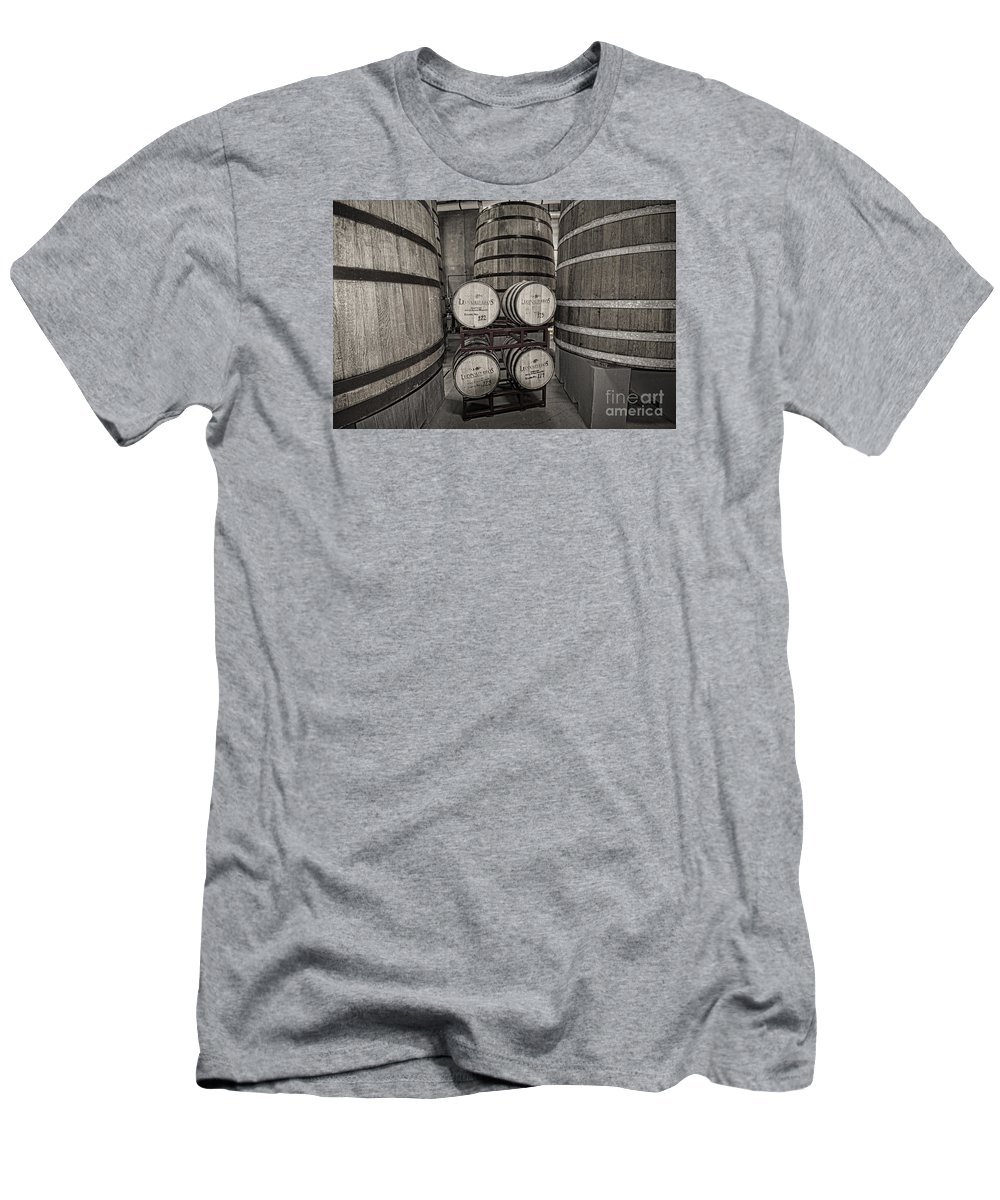 New Belgium Brewery Men's T-Shirt (Athletic Fit) featuring the photograph Leopold Bros Barrels by Keith Ducker
