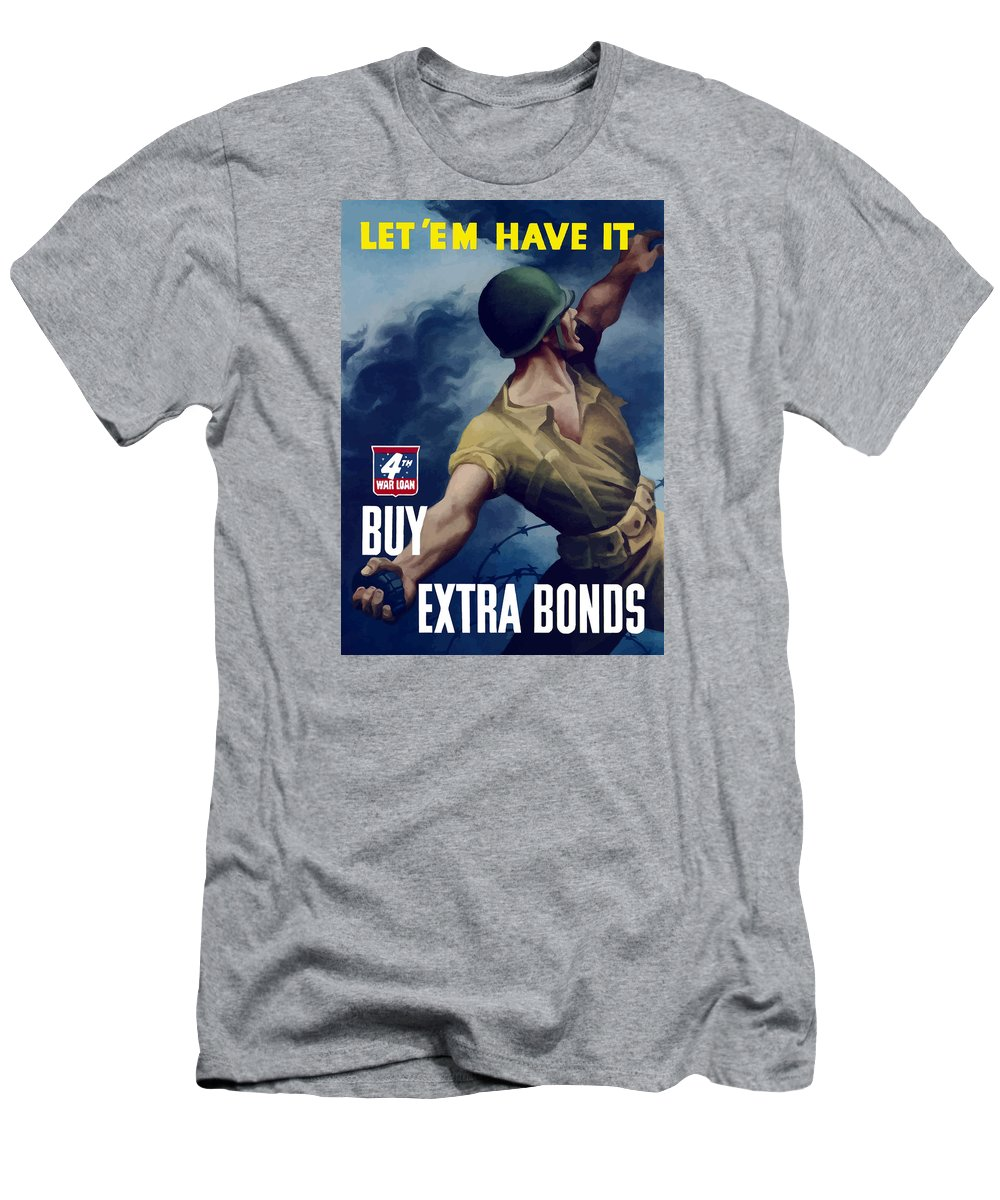 War Bonds Men's T-Shirt (Athletic Fit) featuring the painting Let Em Have It - Buy Extra Bonds by War Is Hell Store