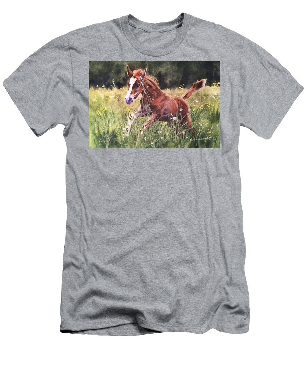 Foal Men's T-Shirt (Athletic Fit) featuring the painting Levi by Michele Soderstrom