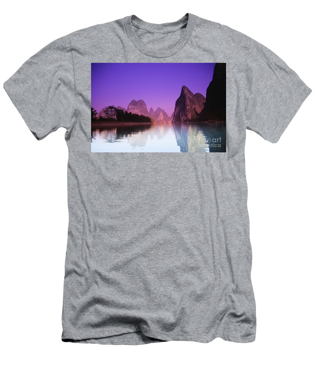 Asian Art Men's T-Shirt (Athletic Fit) featuring the photograph Li River Near Yangshuo by Gloria & Richard Maschmeyer - Printscapes