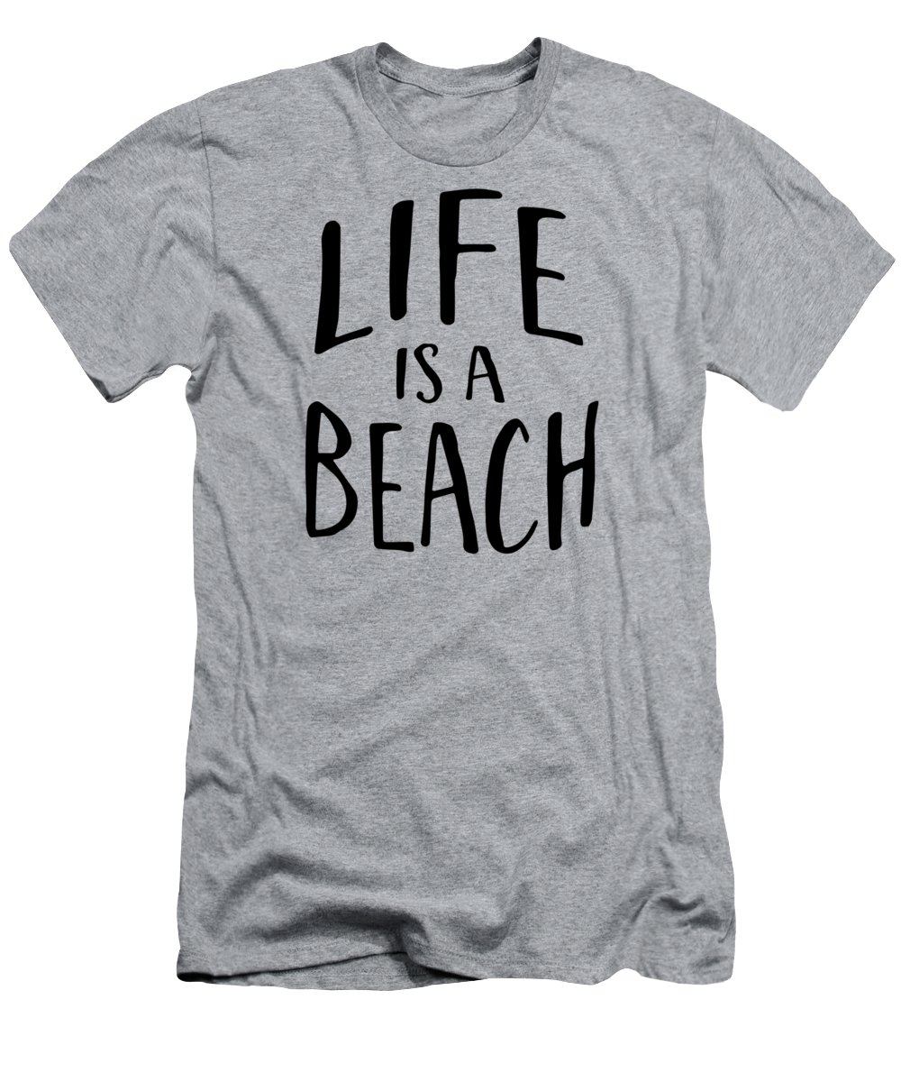 Typography Men's T-Shirt (Athletic Fit) featuring the digital art Life Is A Beach Words Black Ink Tee by Edward Fielding