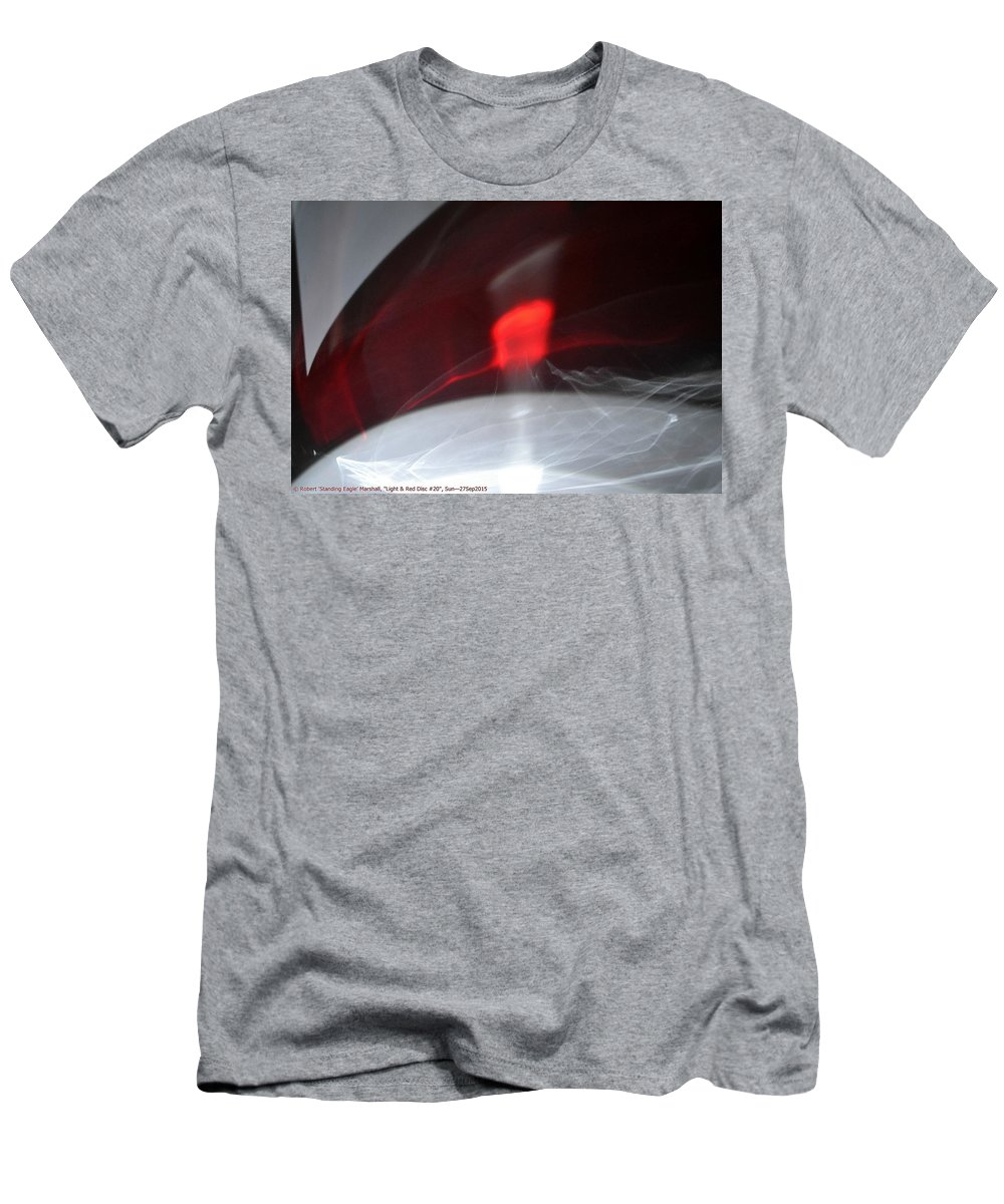 Red Men's T-Shirt (Athletic Fit) featuring the photograph ''light And Red Disc No.20'', Sun--27sep2015 by Robert 'Standing Eagle'