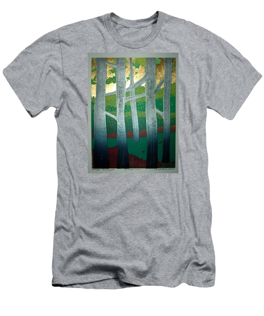 Landscape T-Shirt featuring the mixed media Light between the trees by Jarle Rosseland