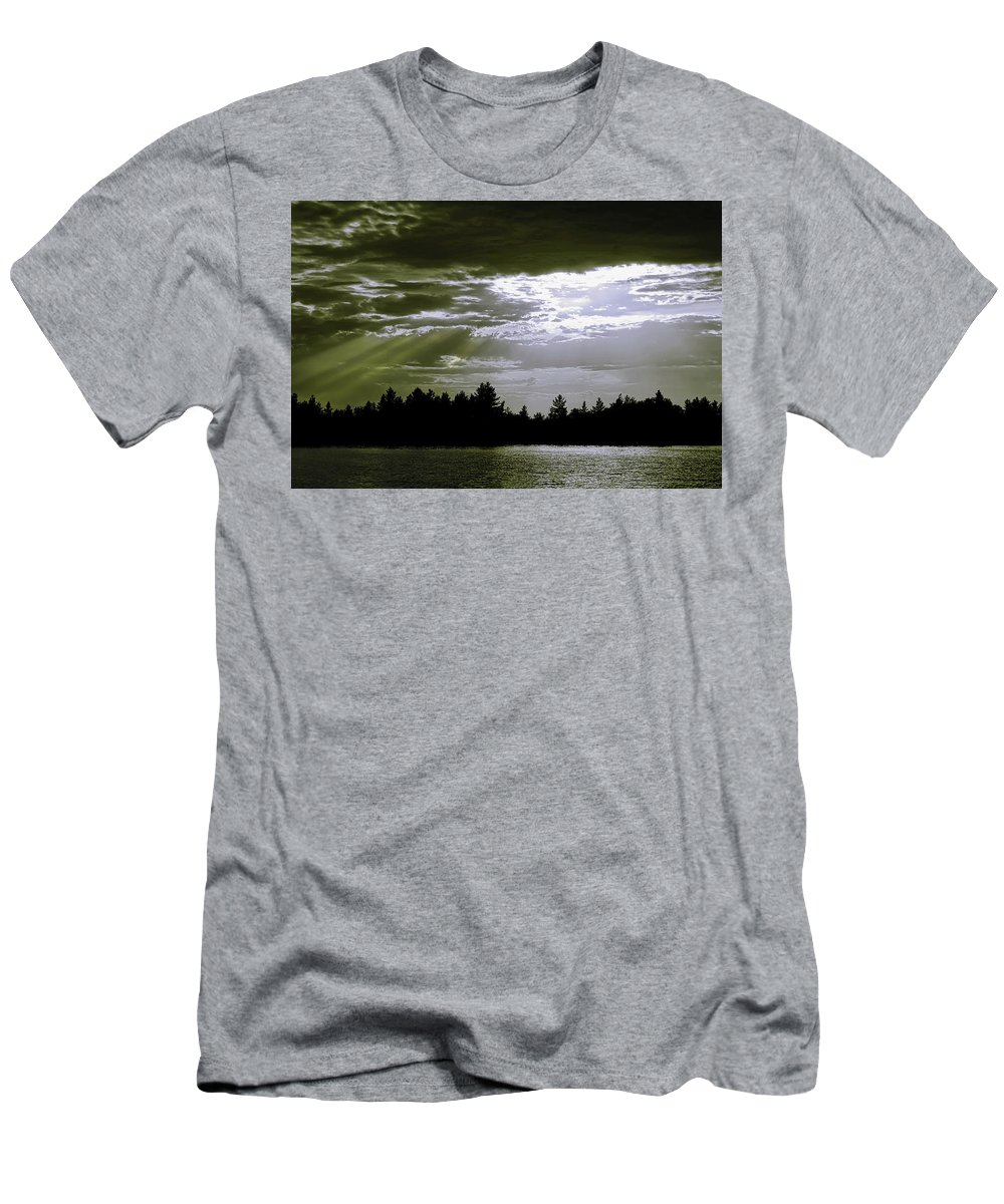 Light Beams Men's T-Shirt (Athletic Fit) featuring the photograph Light Blast In Evening by JGracey Stinson
