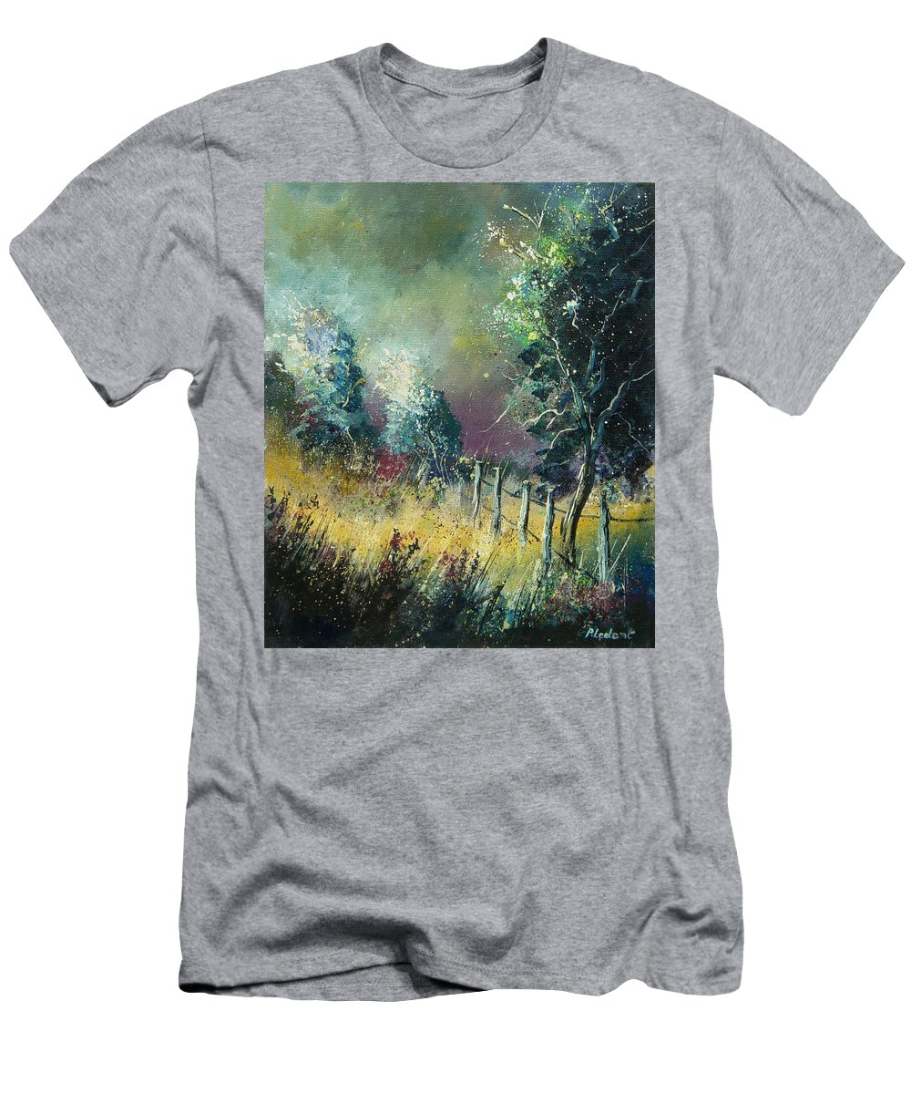 Landscape Men's T-Shirt (Athletic Fit) featuring the painting Light On Trees by Pol Ledent