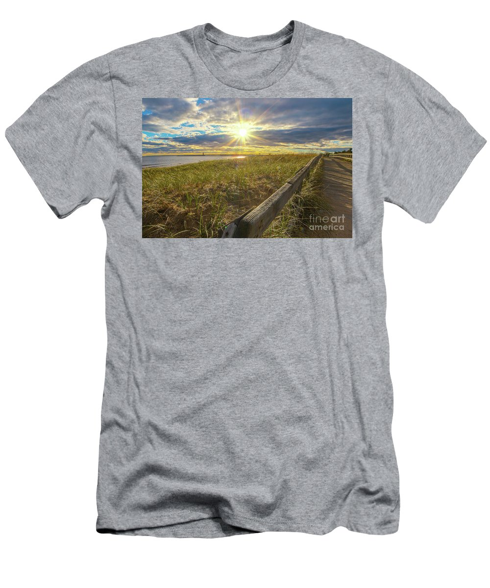 Lighthouse Men's T-Shirt (Athletic Fit) featuring the photograph Lighthouse Manistique Boardwalk -5306 by Norris Seward