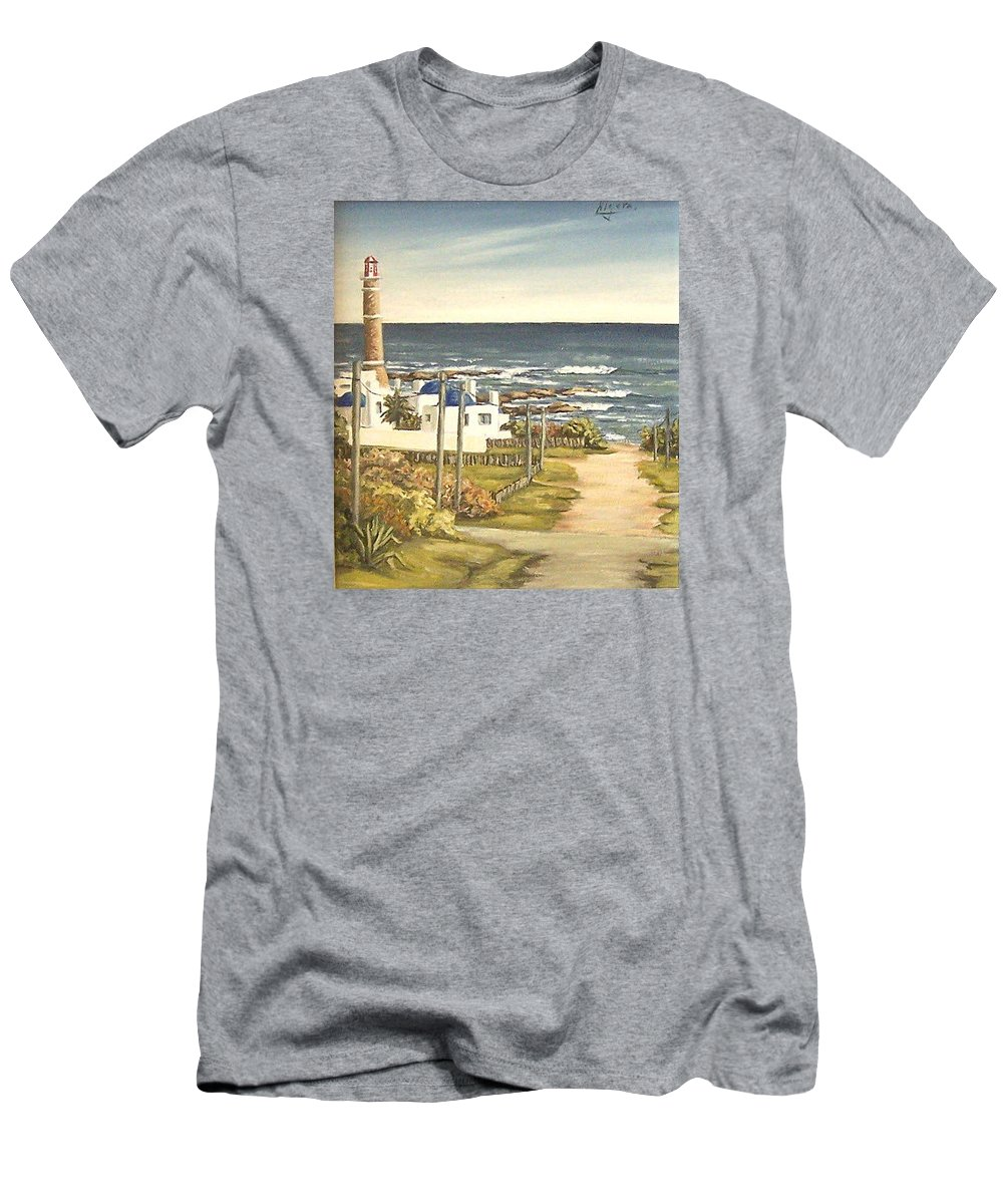 Lighthouse Seascape Sea Water Uruguay Men's T-Shirt (Athletic Fit) featuring the painting Lighthouse Uruguay by Natalia Tejera