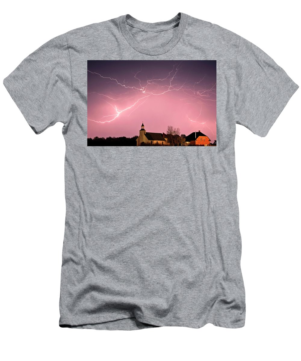 Old Men's T-Shirt (Athletic Fit) featuring the digital art Lightning Bolts Over Spring Valley Country Church by Mark Duffy