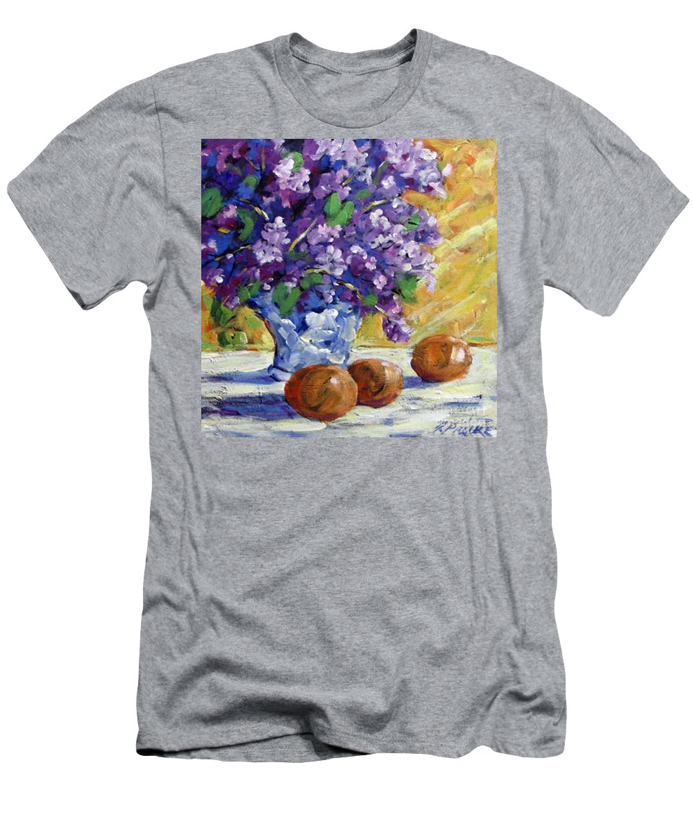Art Men's T-Shirt (Athletic Fit) featuring the painting Lilac by Richard T Pranke