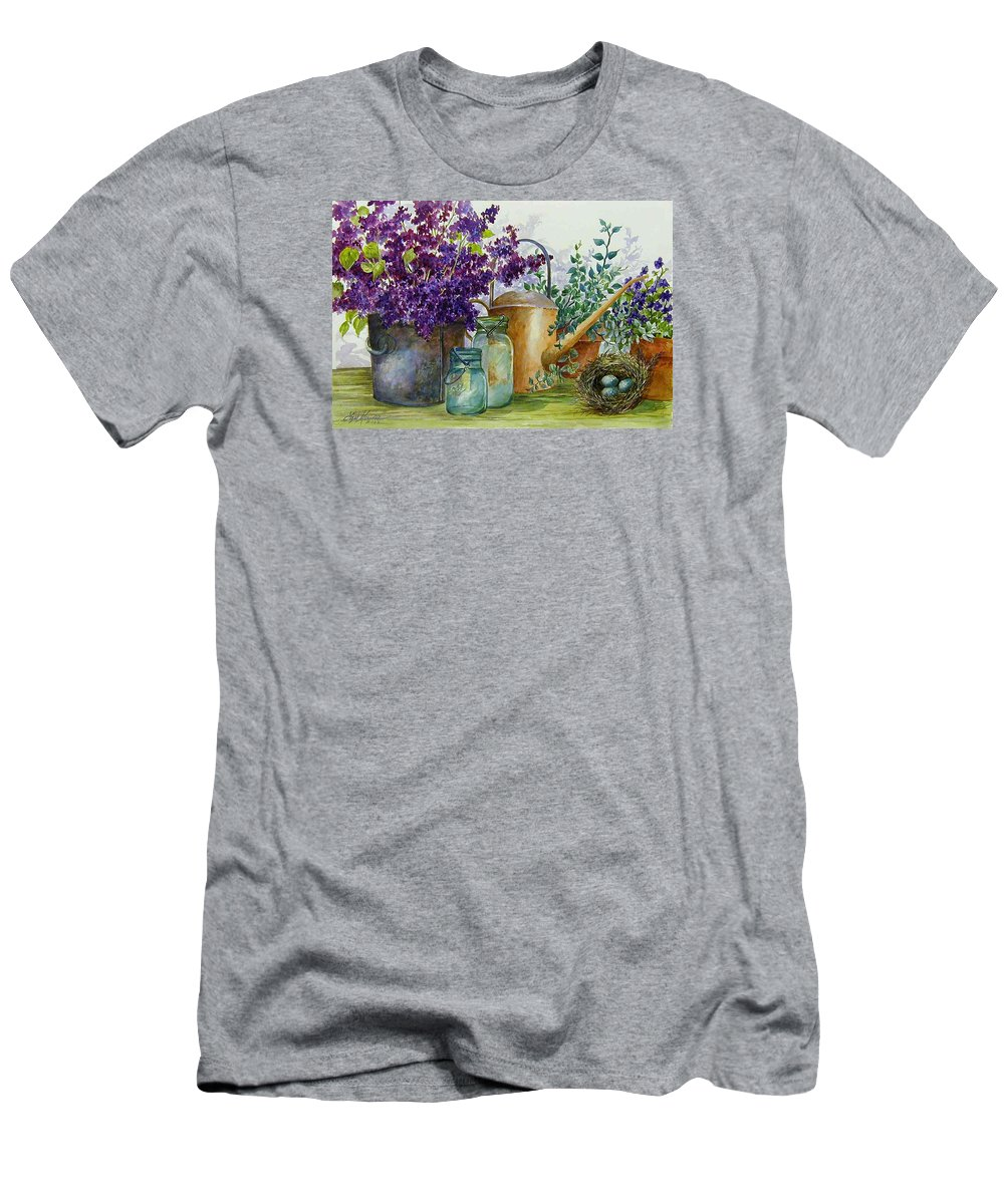 Still Life;lilacs; Ball Jars; Watering Can;bird Nest; Bird Eggs; Men's T-Shirt (Athletic Fit) featuring the painting Lilacs And Ball Jars by Lois Mountz