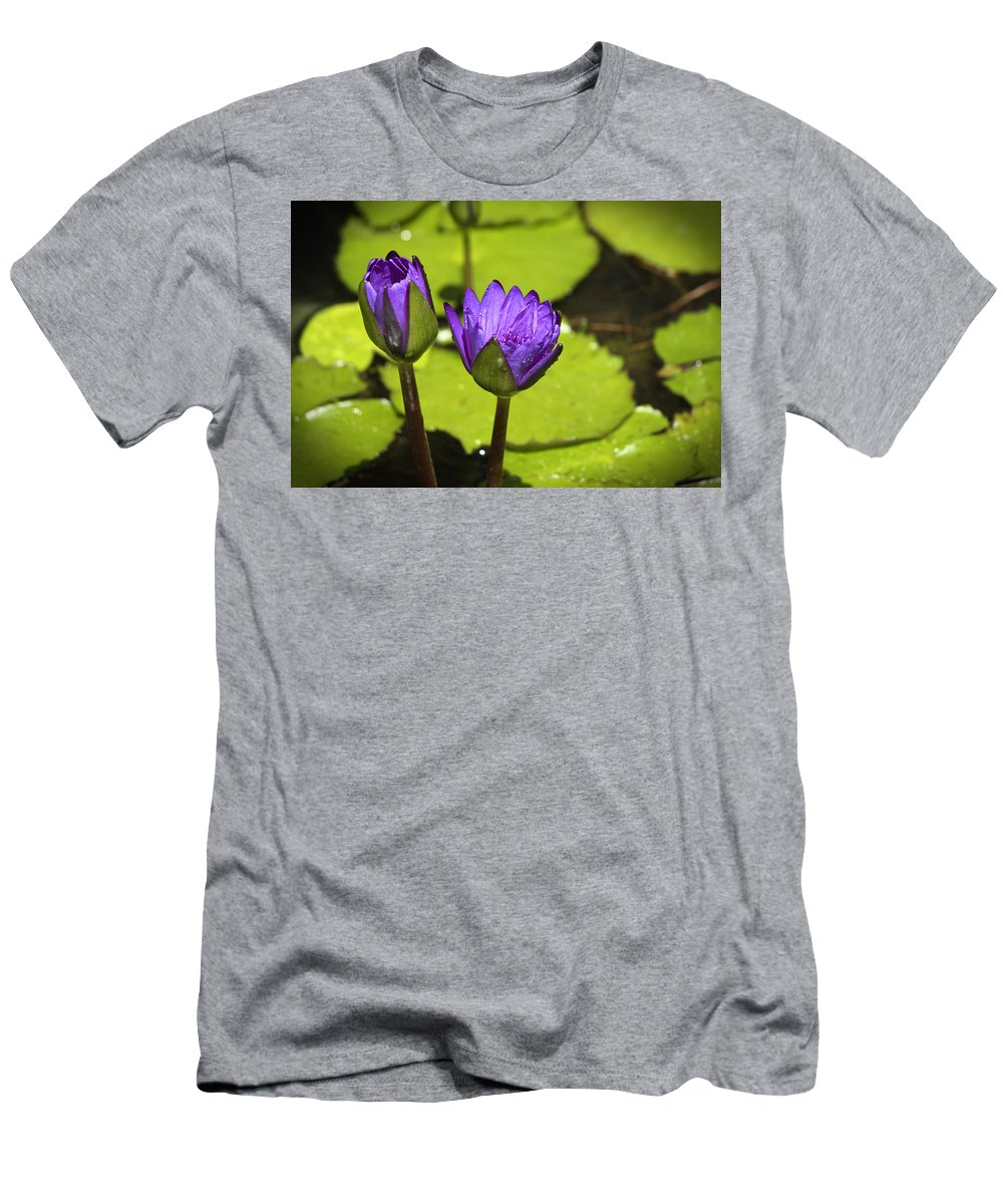 Water Men's T-Shirt (Athletic Fit) featuring the photograph Lilly Buds by Teresa Mucha