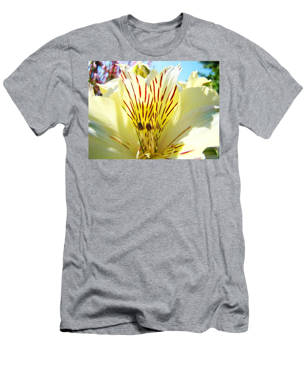 Lilies Men's T-Shirt (Athletic Fit) featuring the photograph Lily Flowers Art Prints Yellow Lillies 2 Giclee Prints Baslee Troutman by Baslee Troutman