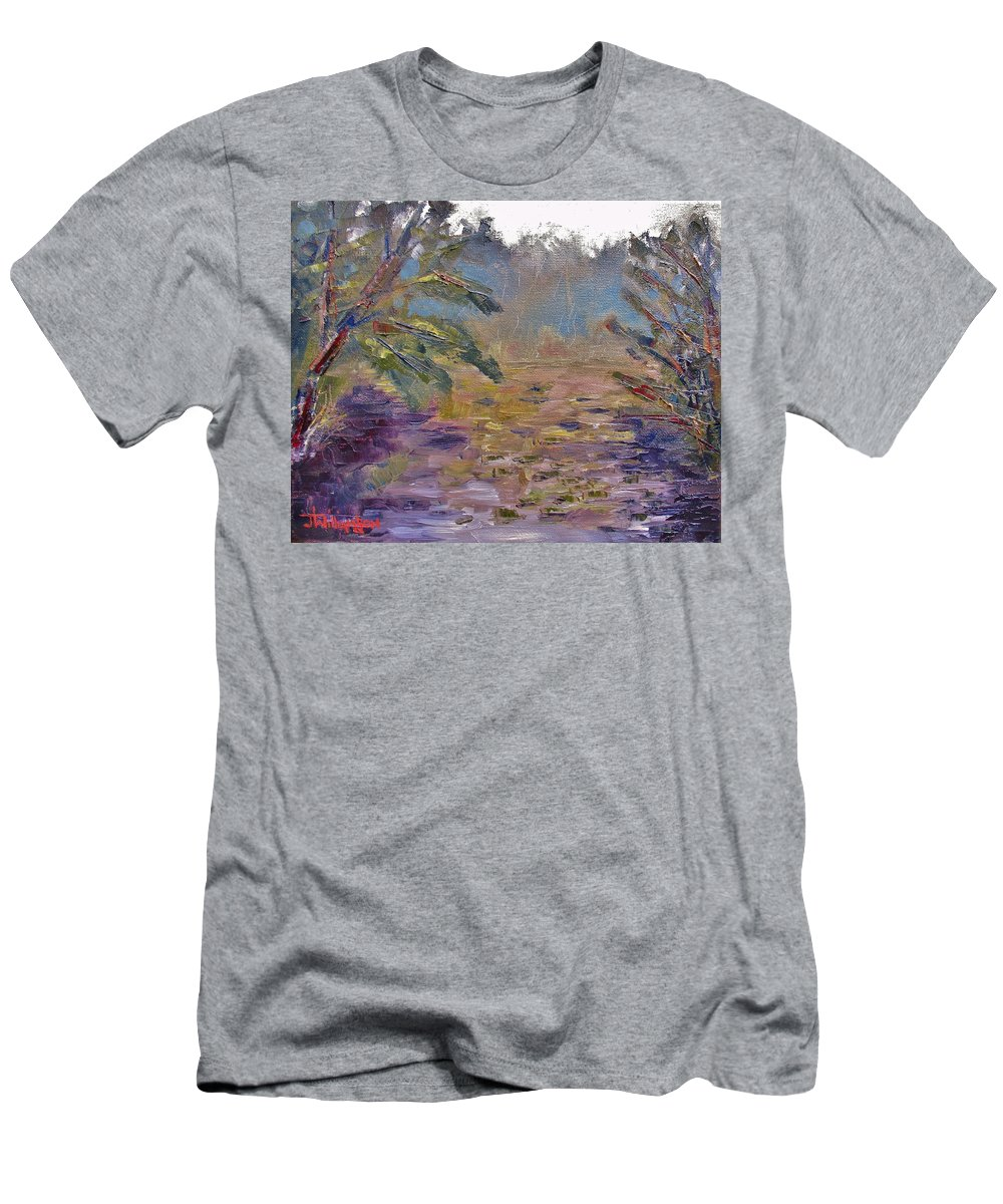 Oil Men's T-Shirt (Athletic Fit) featuring the painting Lily Pads On A Pond, Overcast Sky 3pm by Jason Williamson