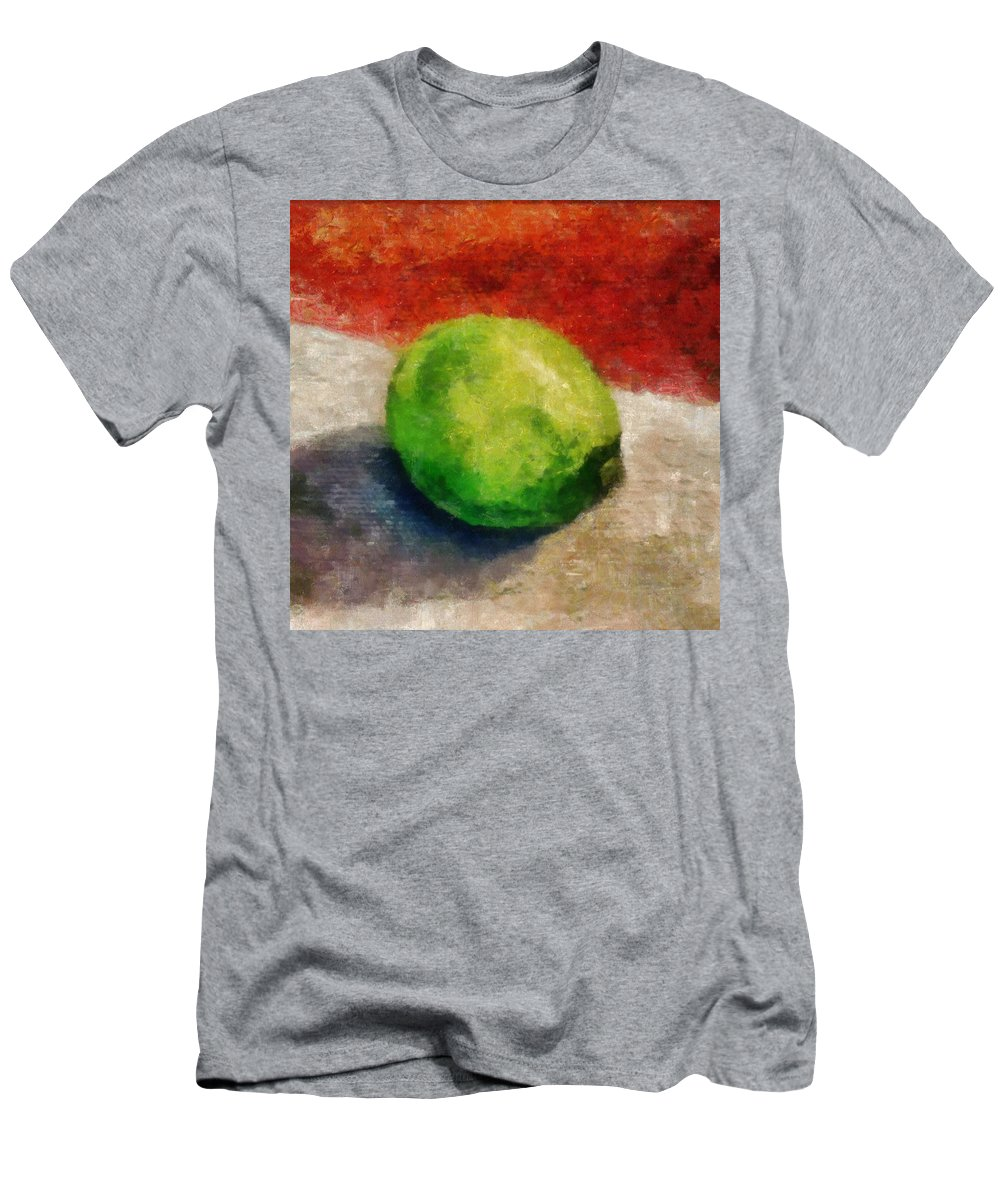 Lime Men's T-Shirt (Athletic Fit) featuring the painting Lime Still Life by Michelle Calkins