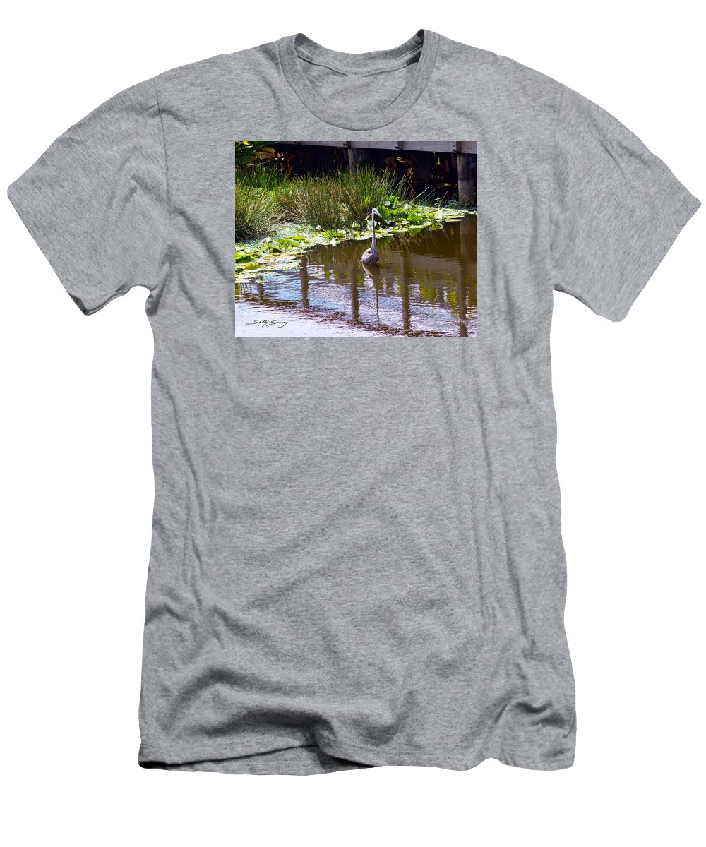 Great Blue Heron Men's T-Shirt (Athletic Fit) featuring the pyrography Lines And Reflection by Sally Sperry