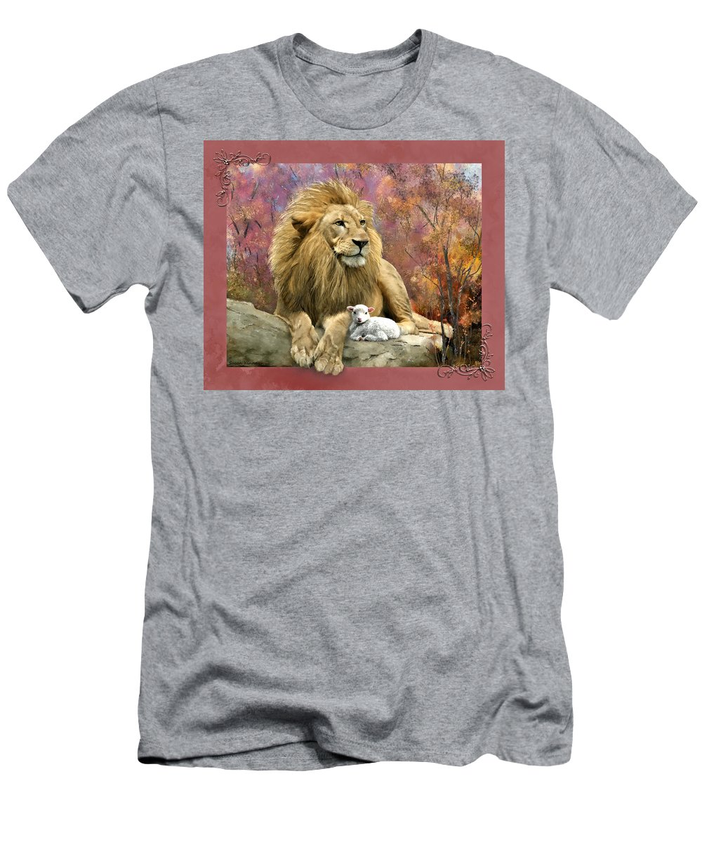 Lion Men's T-Shirt (Athletic Fit) featuring the digital art Lion And The Lamb by Susan Kinney
