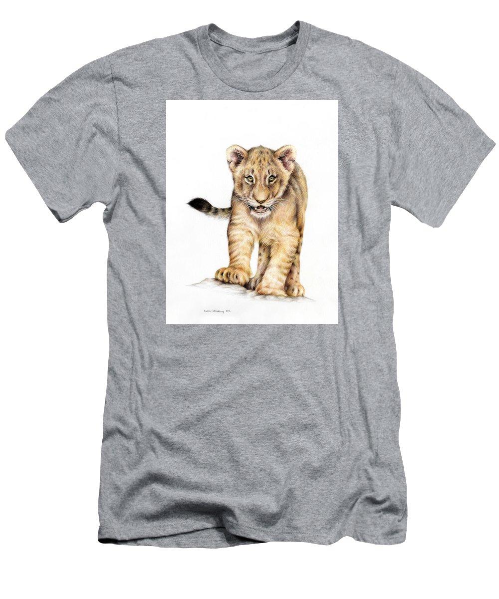 Lion cub mens t shirt athletic fit featuring the painting lion cub colour