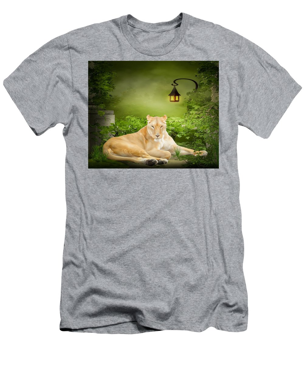 Lioness Men's T-Shirt (Athletic Fit) featuring the photograph Lioness Dream by Steven R Breininger