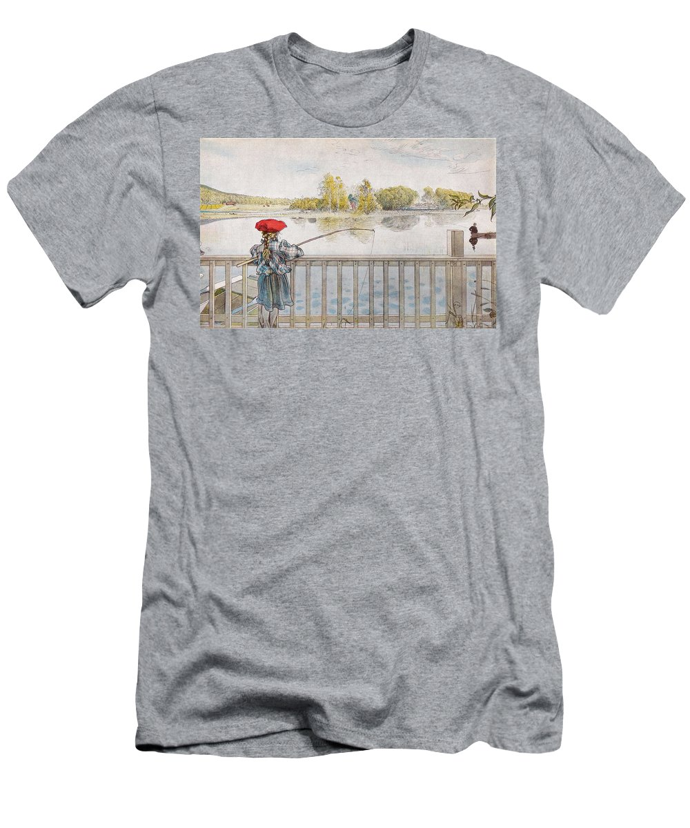 Nature Men's T-Shirt (Athletic Fit) featuring the painting Lisbeth Angling. From A Home By Carl Larsson by Carl Larsson