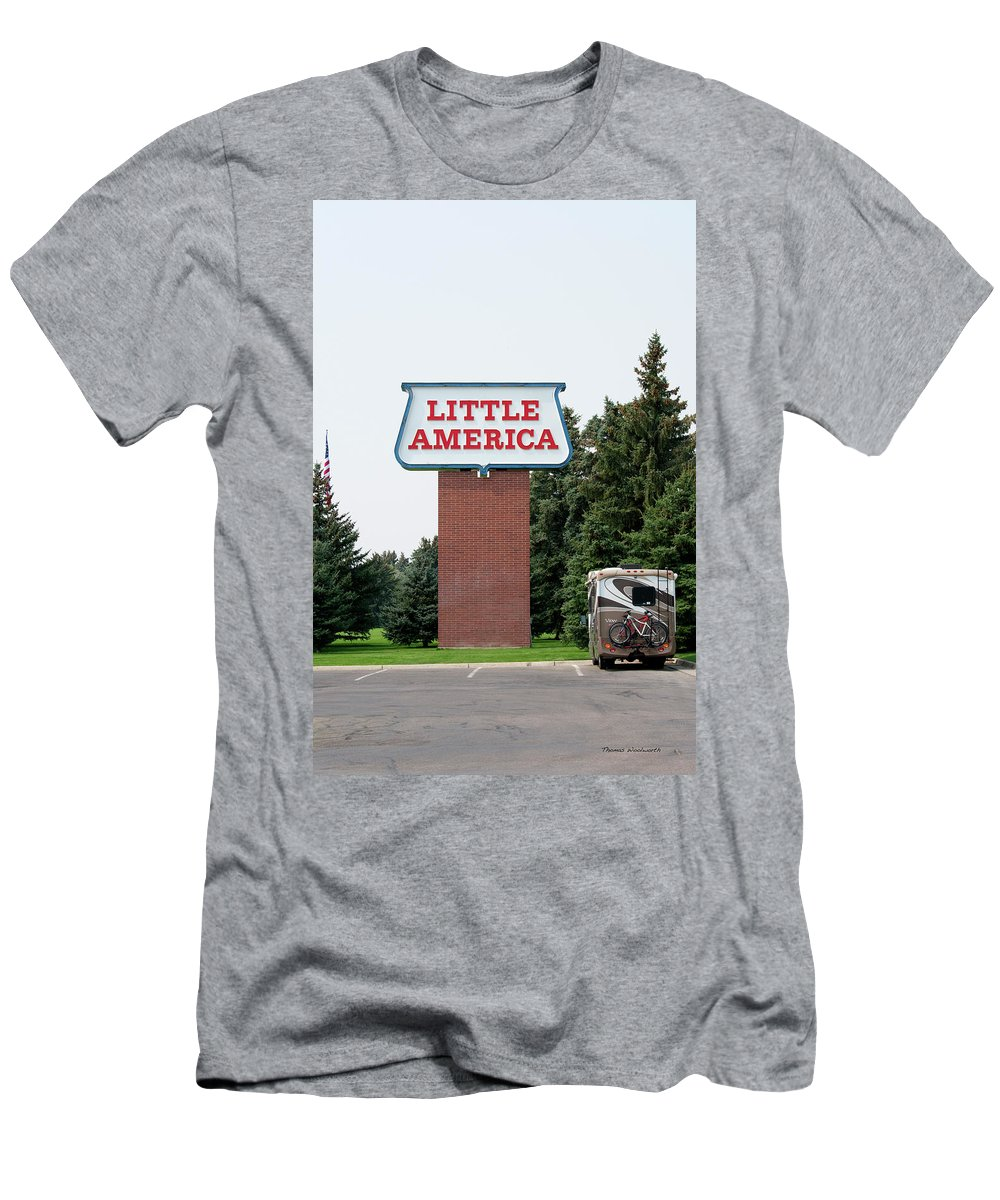 Little America Hotel Men's T-Shirt (Athletic Fit) featuring the photograph Little America Hotel Signage Vertical by Thomas Woolworth