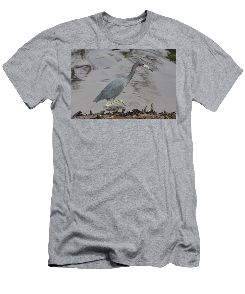 Heron Men's T-Shirt (Athletic Fit) featuring the photograph Little Blue Heron Walking by Christiane Schulze Art And Photography