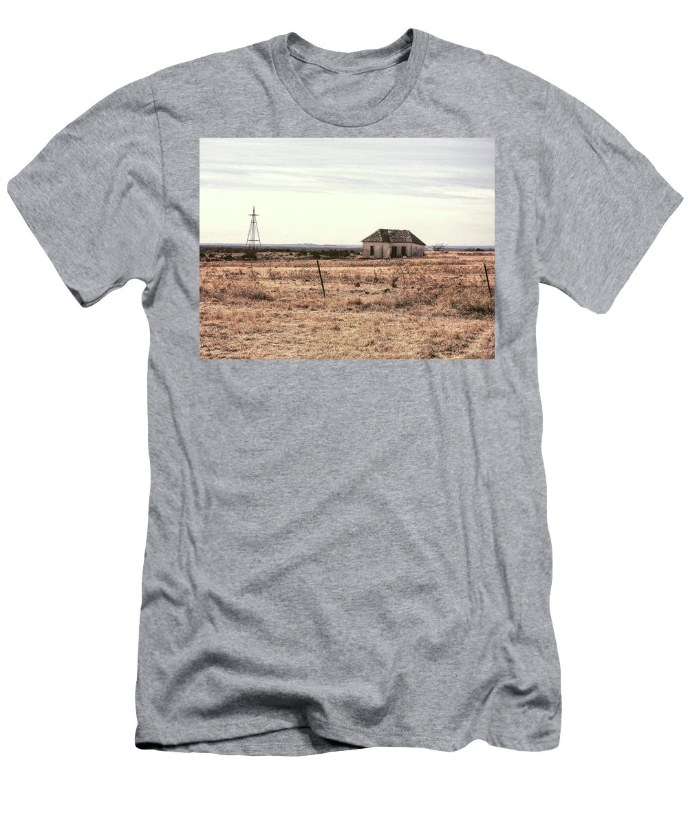 Shack Men's T-Shirt (Athletic Fit) featuring the photograph Little Shack On The Prairie by Fran Bohannon