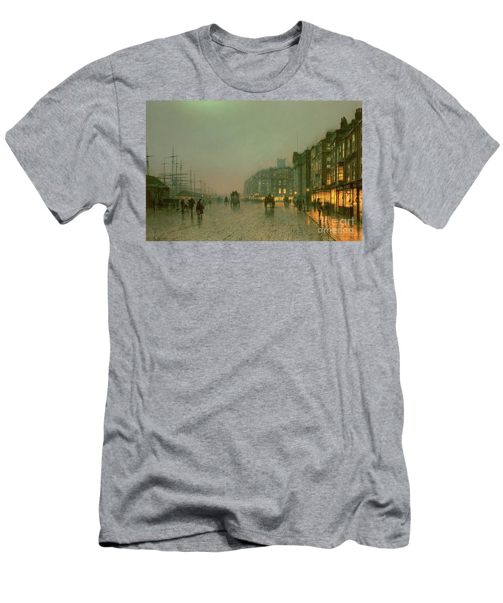 Liverpool Docks From Wapping Men's T-Shirt (Athletic Fit) featuring the painting Liverpool Docks From Wapping by John Atkinson Grimshaw