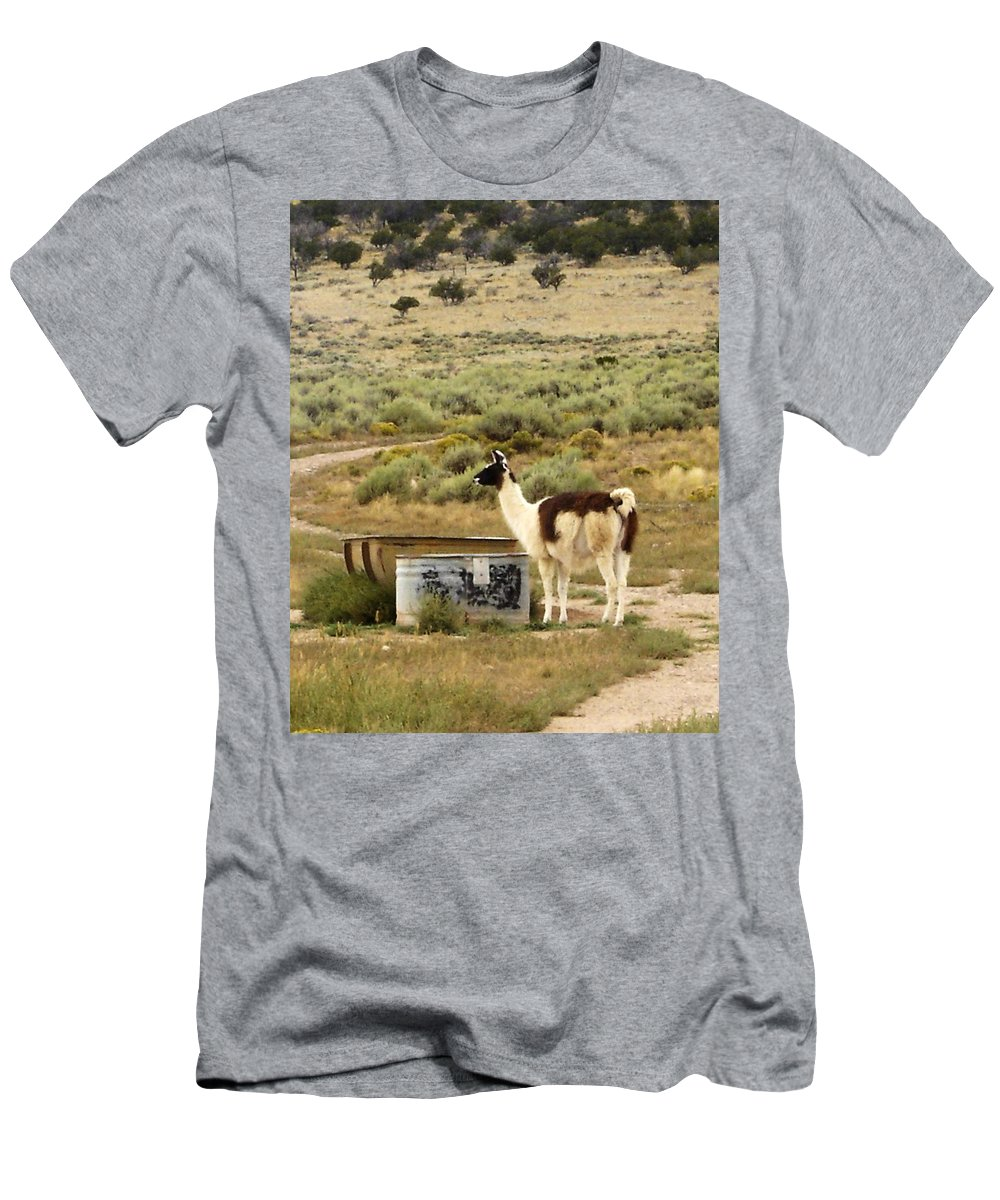 Llama Men's T-Shirt (Athletic Fit) featuring the photograph Llama Land by Mary Rogers