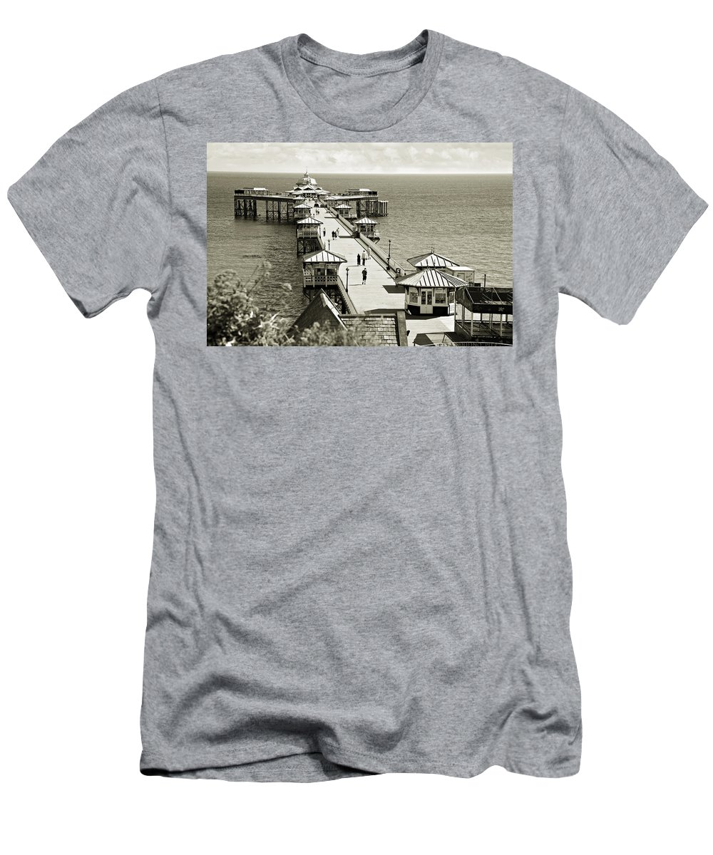 Pier Men's T-Shirt (Athletic Fit) featuring the photograph Llandudno Pier North Wales Uk by Mal Bray