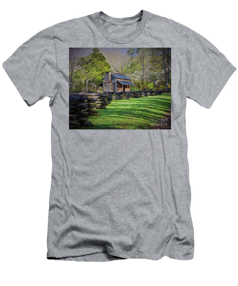 Nature Men's T-Shirt (Athletic Fit) featuring the photograph Log Cabin, Smoky Mountains, Tennessee by Stanton Tubb