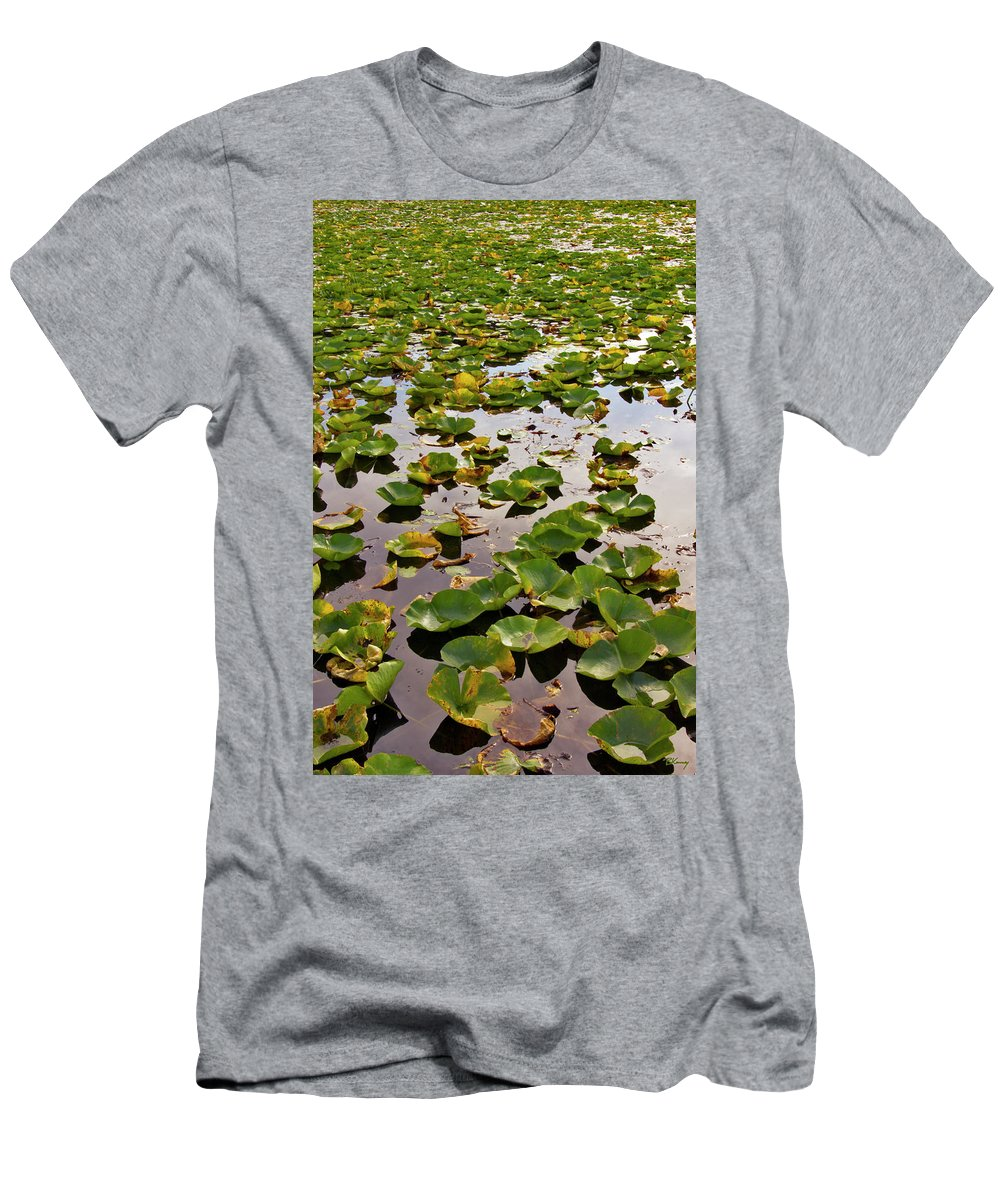 Lone Men's T-Shirt (Athletic Fit) featuring the photograph Lone Lake Lily Pads by Brian Kenney