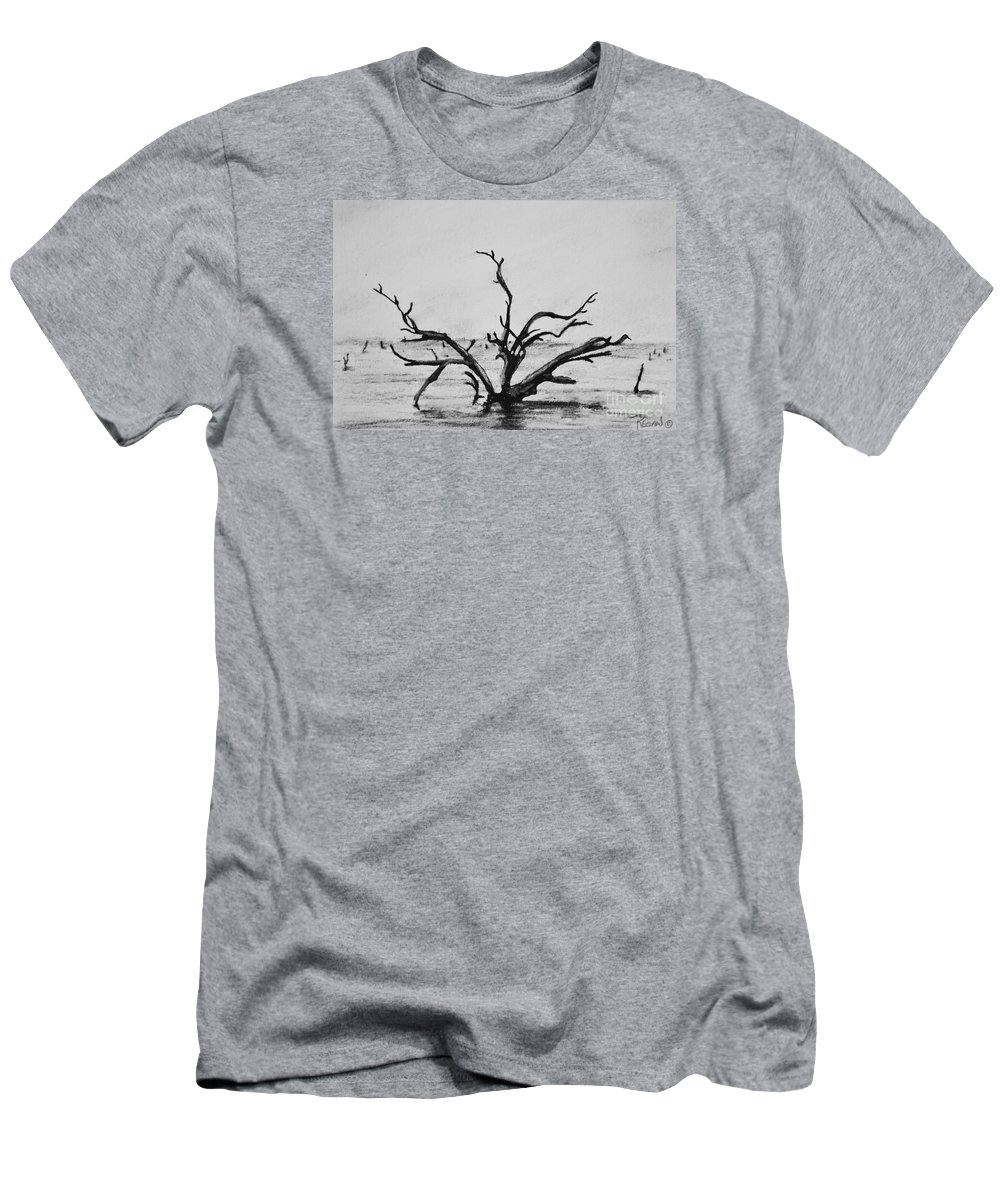 Dead Trees T-Shirt featuring the drawing Lone Tree by Regan J Smith