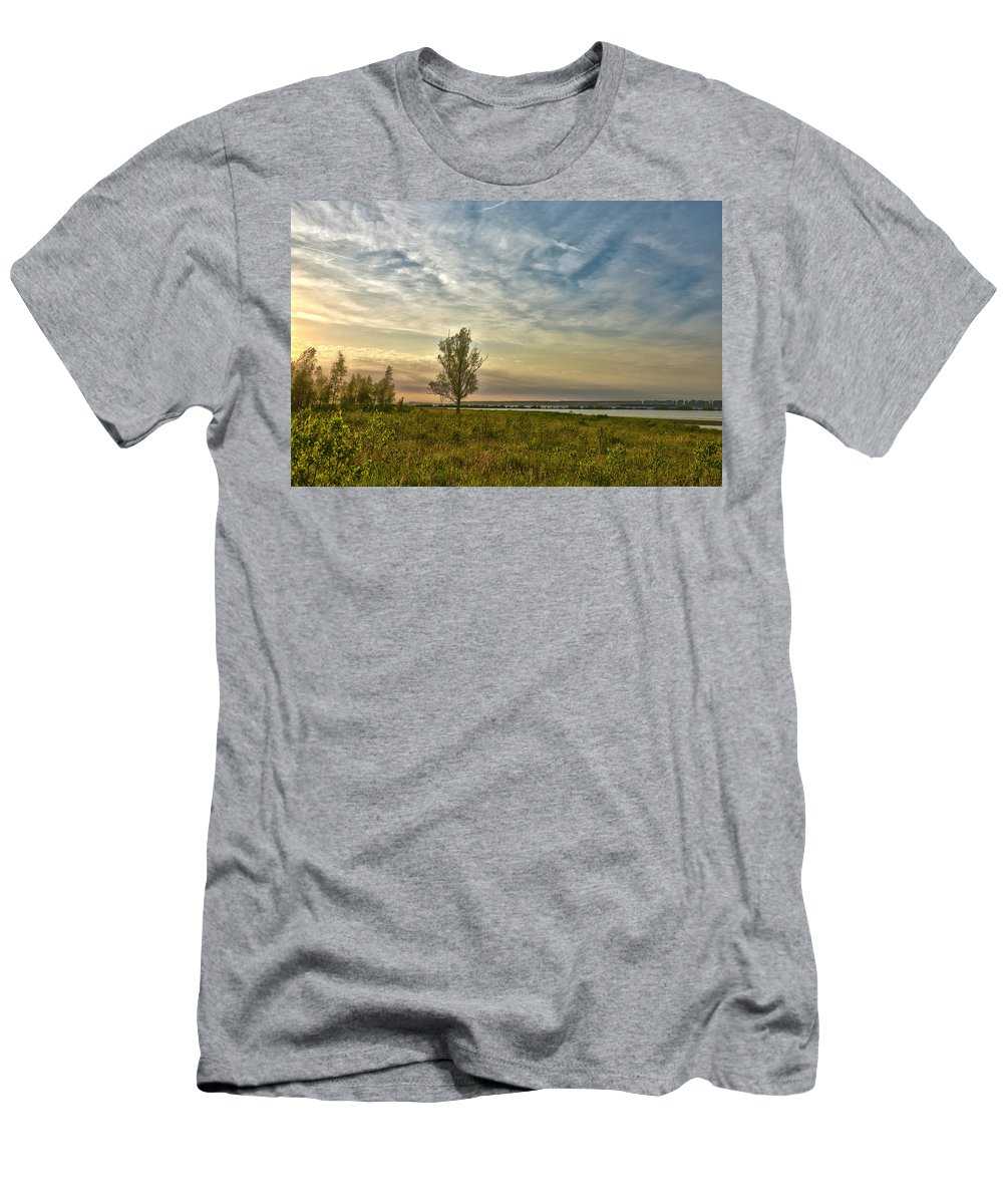 Tree Men's T-Shirt (Athletic Fit) featuring the photograph Lonely Tree In Dintelse Gorzen by Frans Blok