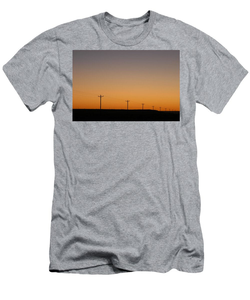 Sunset Men's T-Shirt (Athletic Fit) featuring the photograph Lonesome Road - Wyoming by D'Arcy Evans